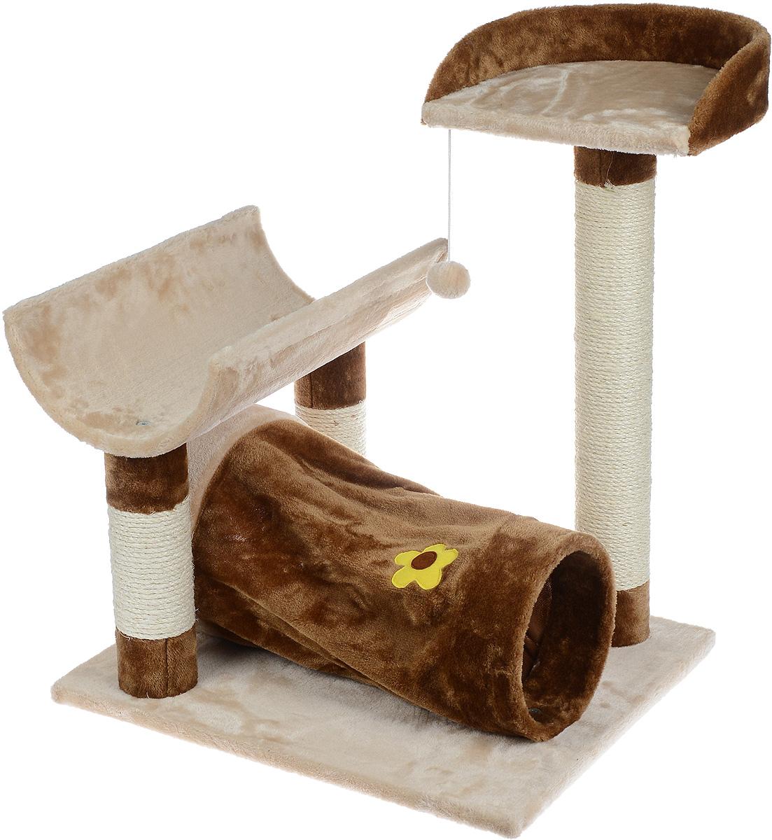 Игровой комплекс для кошек Aimigou, цвет: коричневый, бежевый, 59 х 49 х 72 смQQ80413Игровой комплекс для кошек Aimigou выполнен из высококачественного ДСП и обтянут искусственным мехом. Изделие предназначено для кошек. Ваш домашний питомец будет с удовольствием точить когти о специальные столбики, изготовленные из сизаля. А отдохнуть он сможет либо на полках, либо в трубе. На одной из полок расположена игрушка, которая еще сильнее привлечет внимание питомца. Общий размер: 59 х 49 х 72 см. Размер основания: 59 х 49 см. Размер нижней полки: 48 х 28 см. Размер верхней полки: 31 х 31 см. Размер трубы: 51 х 27 х 27 см.