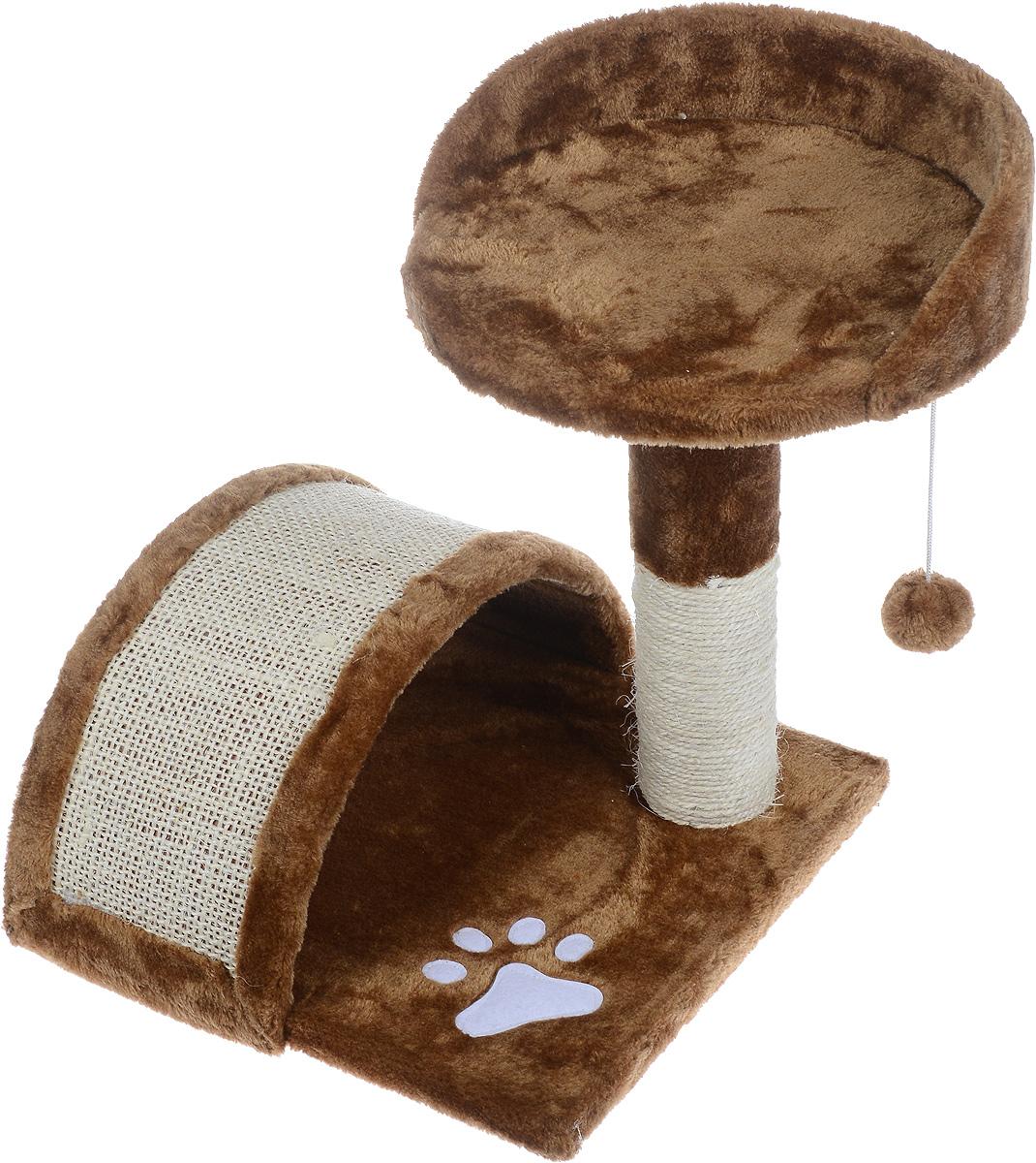 Когтеточка Aimigou, с полкой и игрушками, цвет: коричневый, белый, 43 х 42 х 42 смQQ80324-8Когтеточка Aimigou поможет сохранить мебель и ковры в доме от когтей вашего любимца, стремящегося удовлетворить свою естественную потребность точить когти. Когтеточка изготовлена из ДСП, искусственного меха и сизаля. Товар продуман в мельчайших деталях и, несомненно, понравится вашей кошке. Сверху имеется полка. Точить когти ваш питомец будет о полукруглую горку или столбик с покрытием из сизаля. Под горкой расположена мягкая игрушка в виде рыбки. Всем кошкам необходимо стачивать когти. Когтеточка - один из самых необходимых аксессуаров для кошки. Для приучения к когтеточке можно натереть ее сухой валерьянкой или кошачьей мятой. Когтеточка поможет вашему любимцу стачивать когти и при этом не портить вашу мебель. Размер основания: 34 х 34 см. Высота когтеточки (с учетом полки): 42 см. Размер полки: 30,5 х 30 см.