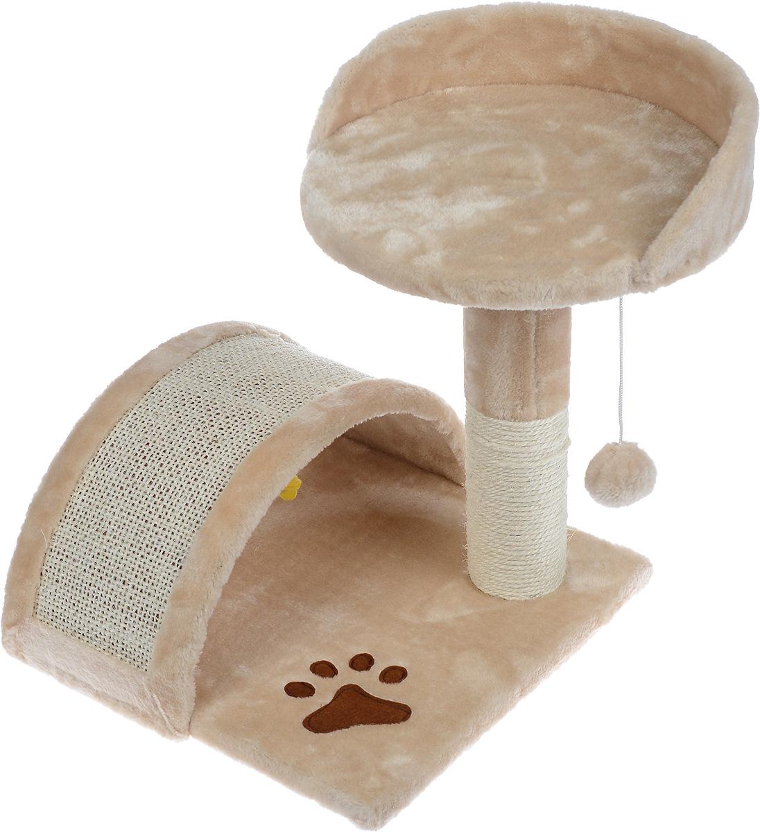 Когтеточка Aimigou, с полкой и игрушками, цвет: бежевый, белый, 43 х 42 х 42 смQQ80324-7Когтеточка Aimigou поможет сохранить мебель и ковры в доме от когтей вашего любимца, стремящегося удовлетворить свою естественную потребность точить когти. Когтеточка изготовлена из ДСП, искусственного меха и сизаля. Товар продуман в мельчайших деталях и, несомненно, понравится вашей кошке. Сверху имеется полка. Точить когти ваш питомец будет о полукруглую горку или столбик с покрытием из сизаля. Под горкой расположена мягкая игрушка в виде рыбки. Всем кошкам необходимо стачивать когти. Когтеточка - один из самых необходимых аксессуаров для кошки. Для приучения к когтеточке можно натереть ее сухой валерьянкой или кошачьей мятой. Когтеточка поможет вашему любимцу стачивать когти и при этом не портить вашу мебель. Размер основания: 34 х 34 см. Высота когтеточки (с учетом полки): 42 см. Размер полки: 30,5 х 30 см.