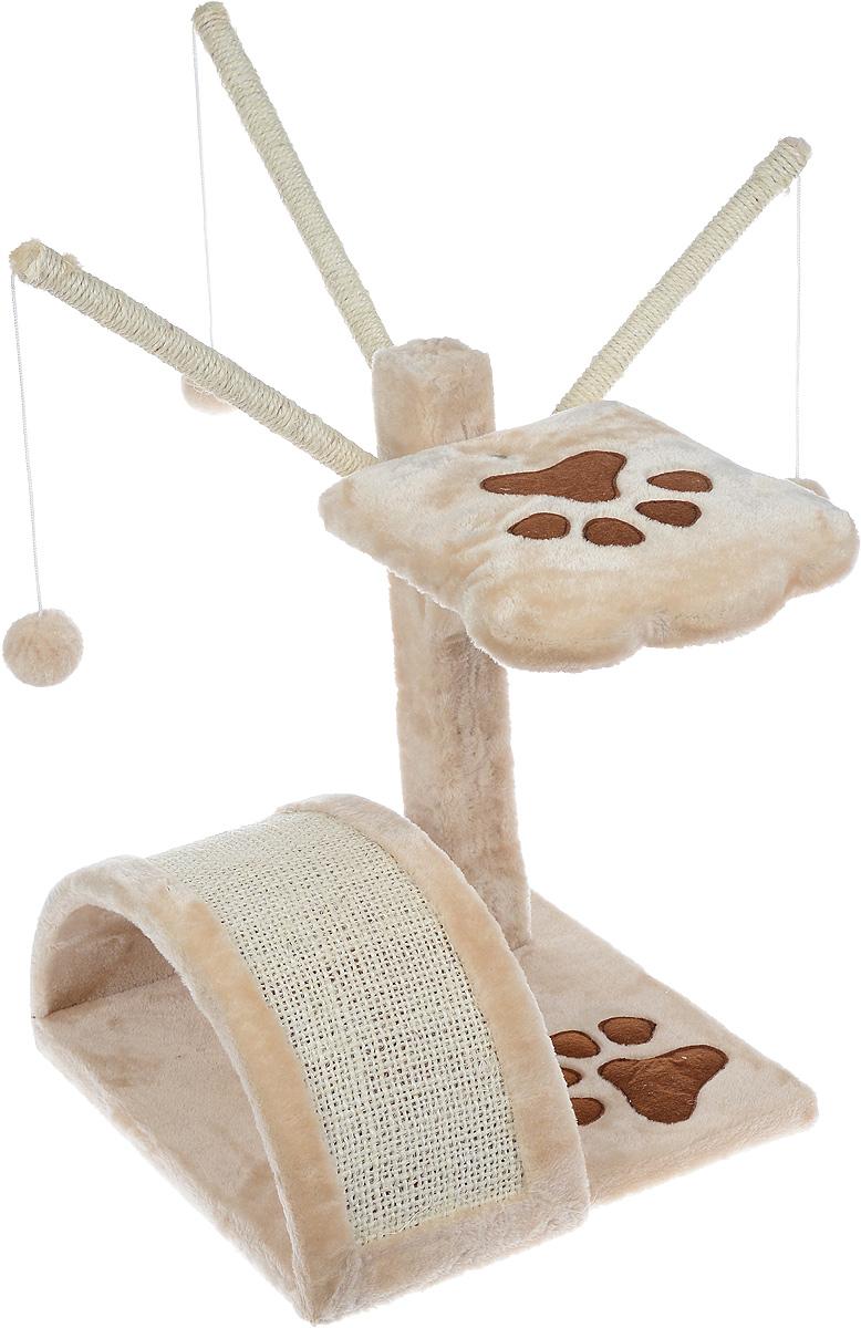 Когтеточка Aimigou, с полкой и игрушками, цвет: бежевый, коричневый, 35 х 35 х 43 смQQ80003-11Когтеточка Aimigou поможет сохранить мебель и ковры в доме от когтей вашего любимца, стремящегося удовлетворить свою естественную потребность точить когти. Когтеточка изготовлена из ДСП, искусственного меха и сизаля. Товар продуман в мельчайших деталях и, несомненно, понравится вашей кошке. Сверху имеется полка и дополнительные элементы с подвешанными к ним мягкими игрушками. Точить когти ваш питомец будет о полукруглую горку с покрытием из сизаля. Под горкой расположена мягкая игрушка в виде рыбки. Всем кошкам необходимо стачивать когти. Когтеточка - один из самых необходимых аксессуаров для кошки. Для приучения к когтеточке можно натереть ее сухой валерьянкой или кошачьей мятой. Когтеточка поможет вашему любимцу стачивать когти и при этом не портить вашу мебель. Размер основания: 35 х 35 см. Высота когтеточки (без учета дополнительных элементов): 43 см. Размер полки: 24,5 х 24,5 см.