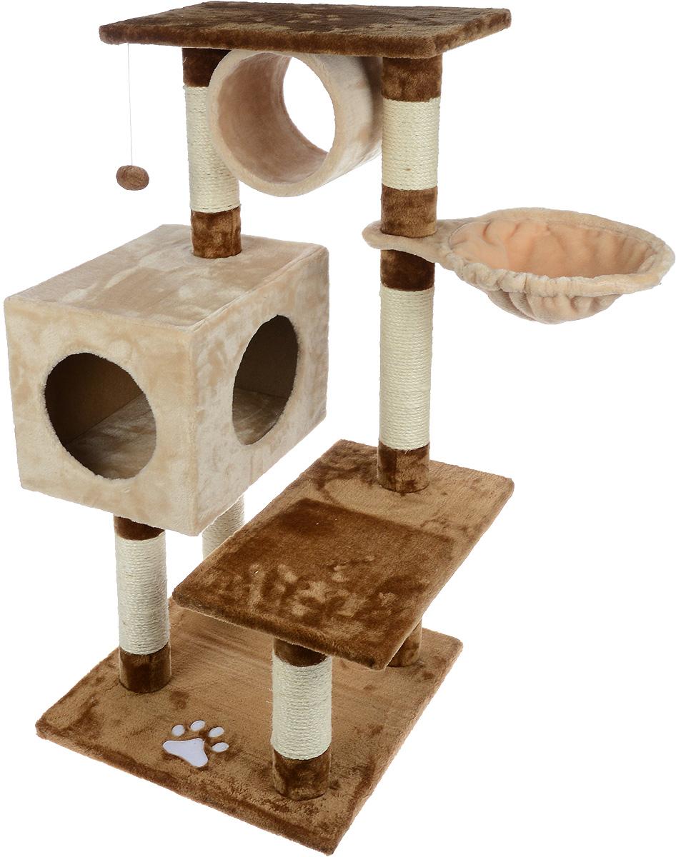 Игровой комплекс для кошек Aimigou, цвет: коричневый, бежевый, 84 х 55 х 103 см. QQ80335QQ80335Игровой комплекс для кошек Aimigou выполнен из высококачественного ДСП и обтянут искусственным мехом. Изделие предназначено для кошек. Ваш домашний питомец будет с удовольствием точить когти о специальные столбики, изготовленные из сизаля. А отдохнуть он сможет либо на полках, либо в в домике, либо в трубе, либо на гамаке. На одной из полок расположена игрушка, которая еще сильнее привлечет внимание питомца. Общий размер: 84 х 55 х 103 см. Размер основания: 49 х 49 см. Размер полок: 49 х 30 см. Размер трубы: 20 х 22 х 22 см. Размер гамака: 41 х 31 см. Размер домика: 41 х 30 х 30 см.