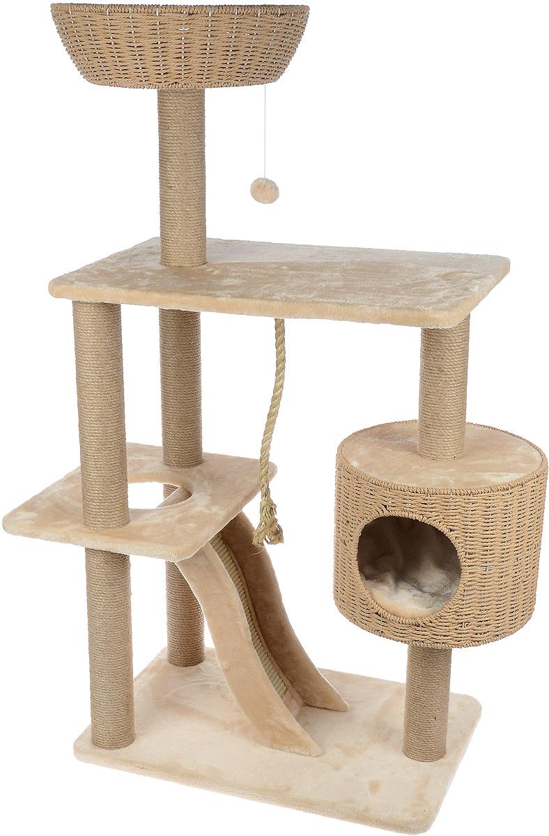 Игровой комплекс для кошек Aimigou, цвет: бежевый, 87 х 45 х 127,5 смQQ80784Игровой комплекс для кошек Aimigou выполнен из высококачественного ДСП и обтянут искусственным мехом. Изделие предназначено для кошек. Ваш домашний питомец будет с удовольствием точить когти о столбики и горку, выполненную из сизаля. А отдохнуть он сможет либо на полках, либо в корзинке, либо в домике. Изделие оснащено двумя съемными матрасиками. Сверху имеется игрушка, которая привлечет внимание вашего питомца. Общий размер: 87 х 45 х 127,5 см. Размер основания и большой полки: 65 х 45 см. Размер полки с отверстием: 44 х 34 см. Размер домика: 34 х 34 х 27 см. Размер корзинки: 40 х 40 х 12 см. Размер горки: 51 х 18 х 10 см.