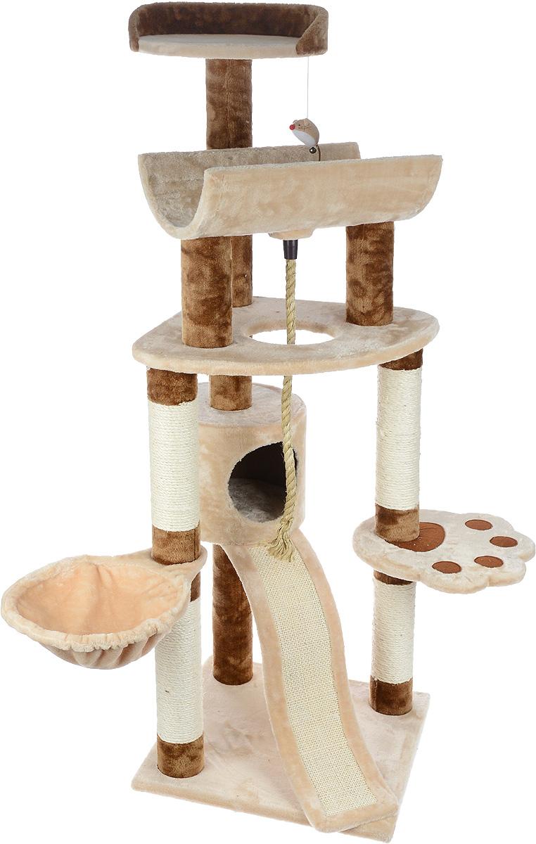 Игровой комплекс для кошек Aimigou, цвет: бежевый, коричневый, 49 х 49 х 145 смQQ80349-3Игровой комплекс для кошек Aimigou выполнен из высококачественного ДСП и обтянут искусственным мехом. Изделие предназначено для кошек. Ваш домашний питомец будет с удовольствием точить когти о столбики, выполненные из сизаля. А отдохнуть он сможет либо на полках, либо на гамаке, либо в домике. Сверху имеется игрушка, которая привлечет внимание вашего питомца. Общий размер: 45 х 45 х 145 см. Размер основания: 49 х 49 см. Размер большой полки: 61 х 53 см. Размер полки в виде лапы: 35 х 34 см. Размер верхней полки: 36 х 35 см. Размер полукруглой полки: 46 х 27 х 14 см. Размер гамака: 41 х 30 см. Размер домика: 30 х 30 х 25 см.