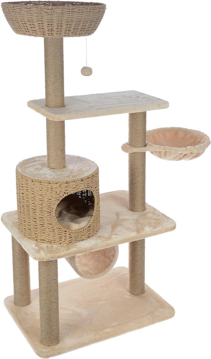 Игровой комплекс для кошек Aimigou, цвет: бежевый, 95 х 45 х 137,5 смQQ80783Игровой комплекс для кошек Aimigou выполнен из высококачественного ДСП и обтянут искусственным мехом. Изделие предназначено для кошек. Ваш домашний питомец будет с удовольствием точить когти о столбики, выполненные из сизаля. А отдохнуть он сможет либо на полках, либо в корзинке, либо на гамаке, либо в домике или в трубе. Изделие оснащено двумя съемными матрасиками. Сверху имеется игрушка, которая привлечет внимание вашего питомца. Общий размер: 95 х 45 х 137,5 см. Размер основания и нижней полки: 66 х 45 см. Размер верхней полки: 54 х 30 см. Размер гамака: 43 х 32 см. Размер домика: 34 х 34 х 27 см. Размер корзинки: 39,5 х 39,5 х 12 см. Размер трубы: 20 х 22 х 22. Диаметр матрасов: 34 см.