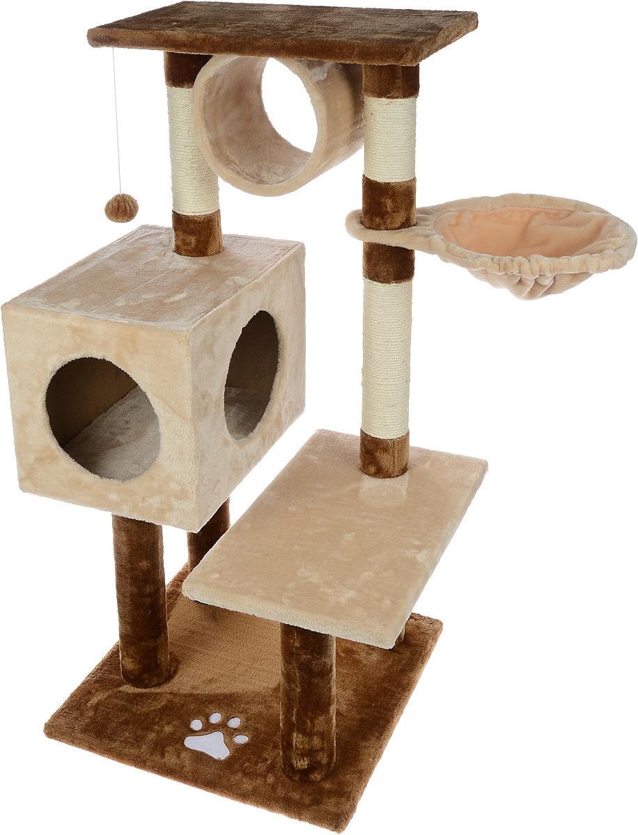 Игровой комплекс для кошек Aimigou, цвет: бежевый, коричневый, 84 х 55 х 103 смQQ80335-3Игровой комплекс для кошек Aimigou выполнен из высококачественного ДСП и обтянут искусственным мехом. Изделие предназначено для кошек. Ваш домашний питомец будет с удовольствием точить когти о специальные столбики, изготовленные из сизаля. А отдохнуть он сможет либо на полках, либо в домике, либо в трубе, либо на гамаке. На одной из полок расположена игрушка, которая еще сильнее привлечет внимание питомца. Общий размер: 84 х 55 х 103 см. Размер основания: 49 х 49 см. Размер полок: 49 х 30 см. Размер трубы: 20 х 22 х 22 см. Размер гамака: 41 х 31 см. Размер домика: 41 х 30 х 30 см.