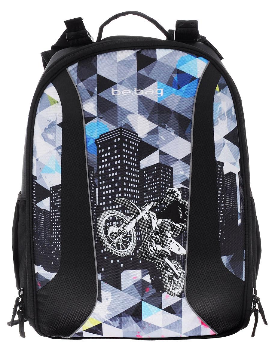 Herlitz Ранец школьный Be Bag City Biker11409968Школьный ранец Herlitz Be Bag. City Biker изготовлен по жестко-каркасной технологии, что обеспечивает правильную эргономичную форму. Каркас не деформируется при нагрузке и распределяет вес по всей площади ранца. Ранец содержит два вместительных отделения, закрывающихся на застежки-молнии с двумя бегунками. В большом отделении находится мягкая перегородка для тетрадей или учебников, фиксирующаяся хлястиком на липучке. Во втором отделении расположены карман-сетка, органайзер для канцелярских принадлежностей, кармашек под мобильный телефон и лента с карабином для ключей. Изделие имеет два открытых боковых кармана на резинках. Ранец оснащен регулируемыми по длине плечевыми лямками и дополнен текстильной ручкой для переноски в руке. Грудное крепление создано специально для фиксации лямок на плечах ребенка. Прочное дно с пластиковыми ножками придает ранцу хорошую устойчивость и защиту от загрязнений. Светоотражающие элементы обеспечивают безопасность в темное время суток. ...