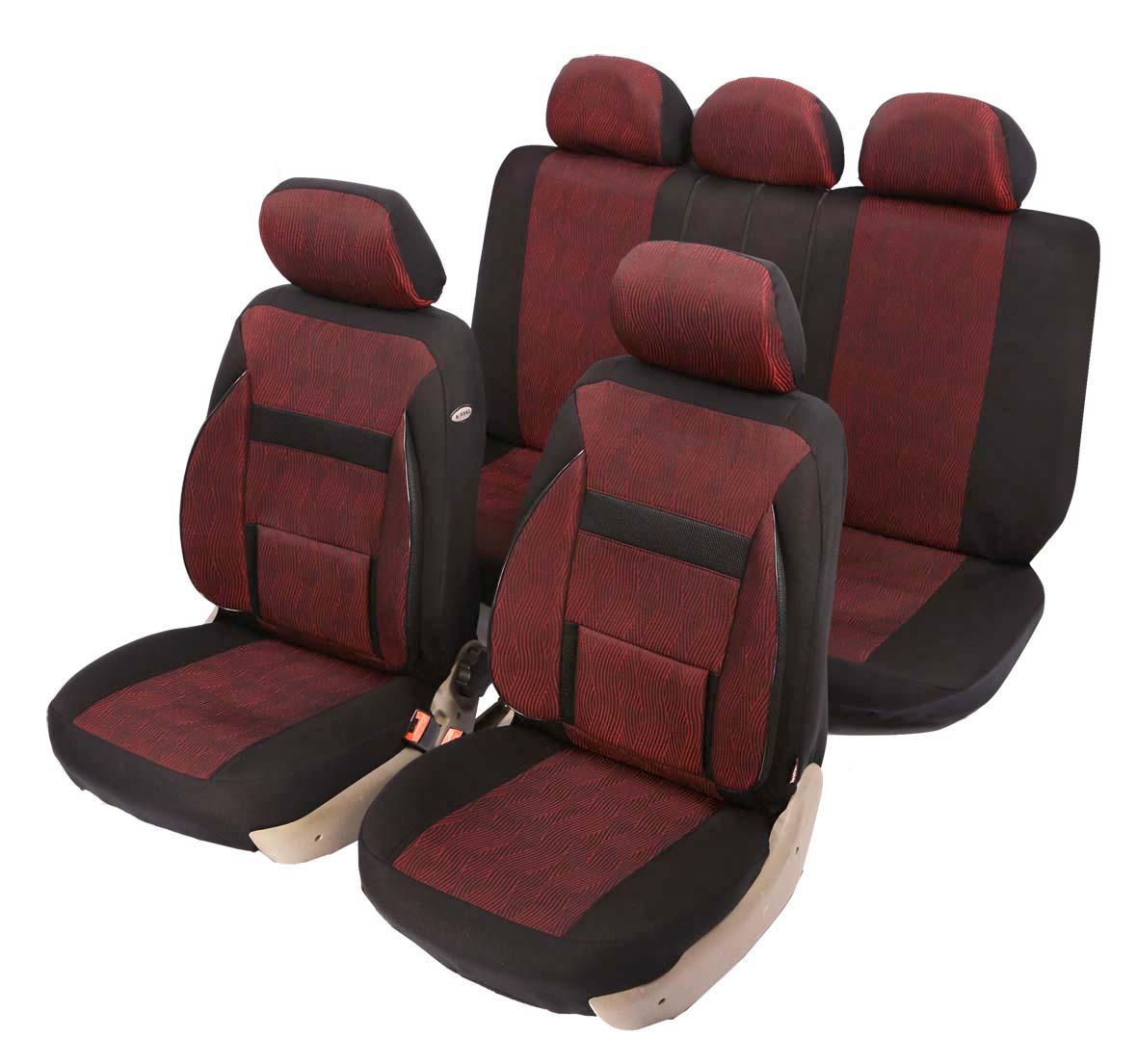 """Чехол на автомобильное кресло универсальный Senator """"NEW Nebraska"""", размер M, ортопед.поддержка 2 уровня, 11 предметов, карман, 6 молний,"""