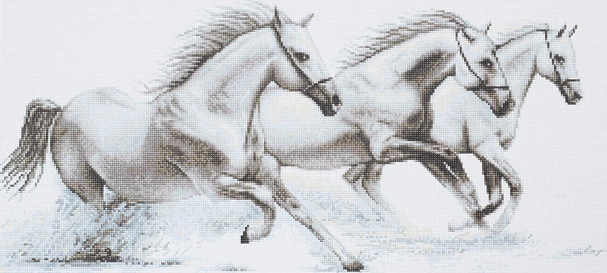 Набор для вышивания крестом Luca-S Белые лошади, 30,5 х 13,5 смG495Набор для вышивания крестом Luca-S Белые лошади поможет создать красивую вышитую картину. Рисунок-вышивка, выполненный на канве, выглядит стильно и модно. Вышивание отвлечет вас от повседневных забот и превратится в увлекательное занятие! Работа, созданная своими руками, не только украсит интерьер дома, придав ему уют и оригинальность, но и будет отличным подарком для друзей и близких! Набор содержит все необходимые материалы для вышивки на канве в технике счетный крест. Канва разграничена на клетки по 10 пунктов, как и на схеме, что существенно облегчает работу вышивальщицы. - канва гобеленовая Zweigart - 100 клеток в 10 см (бежевого цвета), - нитки мулине Anchor - 100% мерсеризованный хлопок (16 цветов), - черно-белая символьная схема, - инструкция, - игла. Размер готовой работы: 30,5 х 13,5 см. Размер канвы: 41 х 25,5 см.