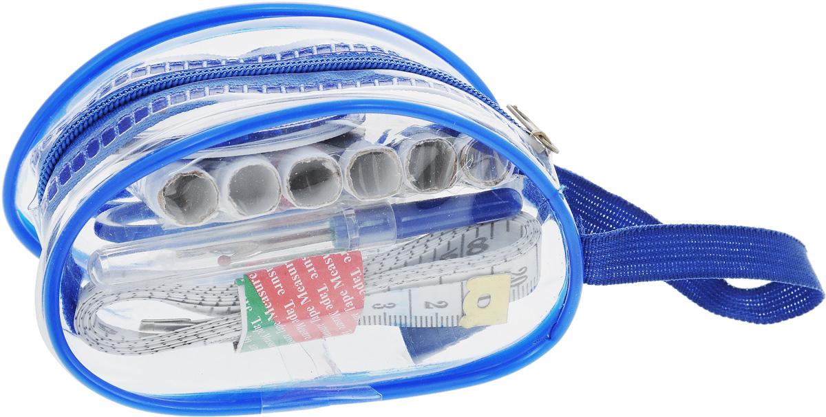 Набор для шитья Hemline, дорожный, 42 предмета, цвет: синийN4305_синийНабор Hemline - это дорожный набор для ручного шитья, который содержит все основные инструменты для шитья и ремонта одежды. Такой набор удобно брать с собой, он компактный и не занимает много места. Элементы набора упакованы в пластиковый футляр с ручкой, застегивающийся на молнию. В набор входит: - 6 катушек разноцветных ниток, - ножницы, - сантиметр, - наперсток, - нитковдеватель, - вспарыватель, - упаковка игл (16 штук), - набор портновских булавок с шариком (10 штук), - английские булавки (6 штук), - кнопки (6 штук), - пуговицы (6 штук), - крючки и петли (2 штуки).