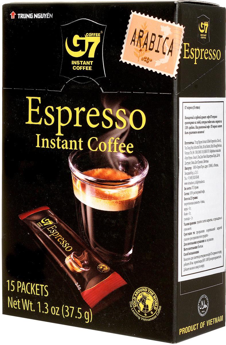 Trung Nguyen G7 Espresso кофе растворимый, 15 стиков8935024150702Trung Nguyen G7 Espresso - насыщенный вкус цельных кофейных зерен Арабики, обжаренных до темного цвета. Данный напиток обладает приятной кофейной горечью, крепостью и полнотой вкуса. Способ приготовления: высыпать в чашку один пакетик растворимого кофе. Добавить 150 мл горячей воды (80-100°С) и хорошо размешать. Добавьте молоко и сахар по вкусу. Кофе G7 подарит вам восхитительные вкусовые ощущения!