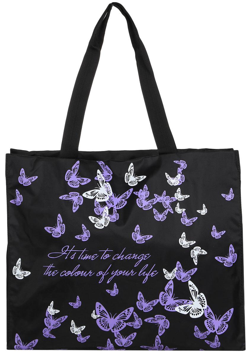 Сумка женская Antan Время перемен, цвет: черный, фиолетовый. 1-1081-108_черный, фиолетовыйОригинальная женская сумка Antan изготовлена из качественного полиэстера. Изделие оформлено рисунком с изображением бабочек и оригинальной надписью. Сумка дополнена удобными ручками, которые можно надевать на плечо. Закрывается сумка на удобную молнию. Внутри расположено одно вместительное отделение и небольшой накладной карман на молнии. Сумка - это стильный аксессуар, который подчеркнет ваш стиль и индивидуальность и сделает ваш образ завершенным.