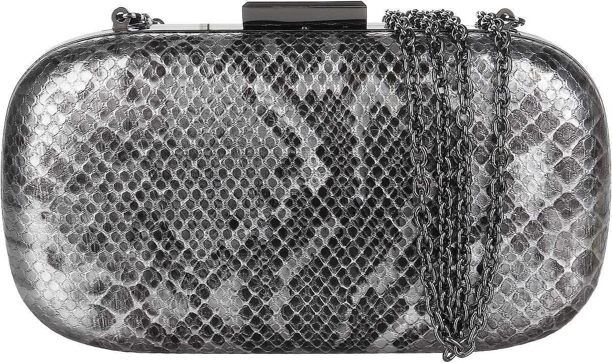 Клатч женский Vitacci, цвет: серебристый. C0109C0109Клатч-бокс Vitacci выполнен из искусственной кожи с узором под рептилию. Несомненными преимуществами данной модели являются компактность и вместительность. Внутри - одно большое отделение, отделанное бархатистым материалом и кружевным шнуром. Клатч имеет жесткий корпус и закрывается на защелку. В комплекте пристежной плечевой ремень в виде цепочки. Такой клатч станет прекрасным и стильным подарком для любителей оригинальных аксессуаров и ценителей экзотики