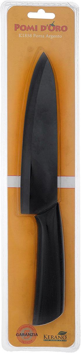 Нож поварской Pomi d'Oro Forza, керамический, цвет: графитовый, длина лезвия 18 см77.858@19750 / K1858 Forza ArgentoНож Pomi dOro Forza изготовлен из высококачественной черной керамики - гигиеничного, экологически чистого материала. Нож имеет острое лезвие, не требующее дополнительной заточки. Эргономичная рукоятка, выполненная из стали с прорезиненным покрытием, не скользит в руках и делает резку удобной и безопасной. Такой нож подходит для нарезки овощей, фруктов, рыбы и мяса без костей. Керамика - это отличная альтернатива металлу. В отличие от стальных ножей, керамические ножи не переносят ионы металла в пищу, не разрушаются от кислот овощей и фруктов и никогда не заржавеют. Нож Pomi dOro Forza будет служить вам многие годы при соблюдении простых правил. Можно мыть в посудомоечной машине. Общая длина ножа: 30 см. Толщина лезвия: 2 мм.