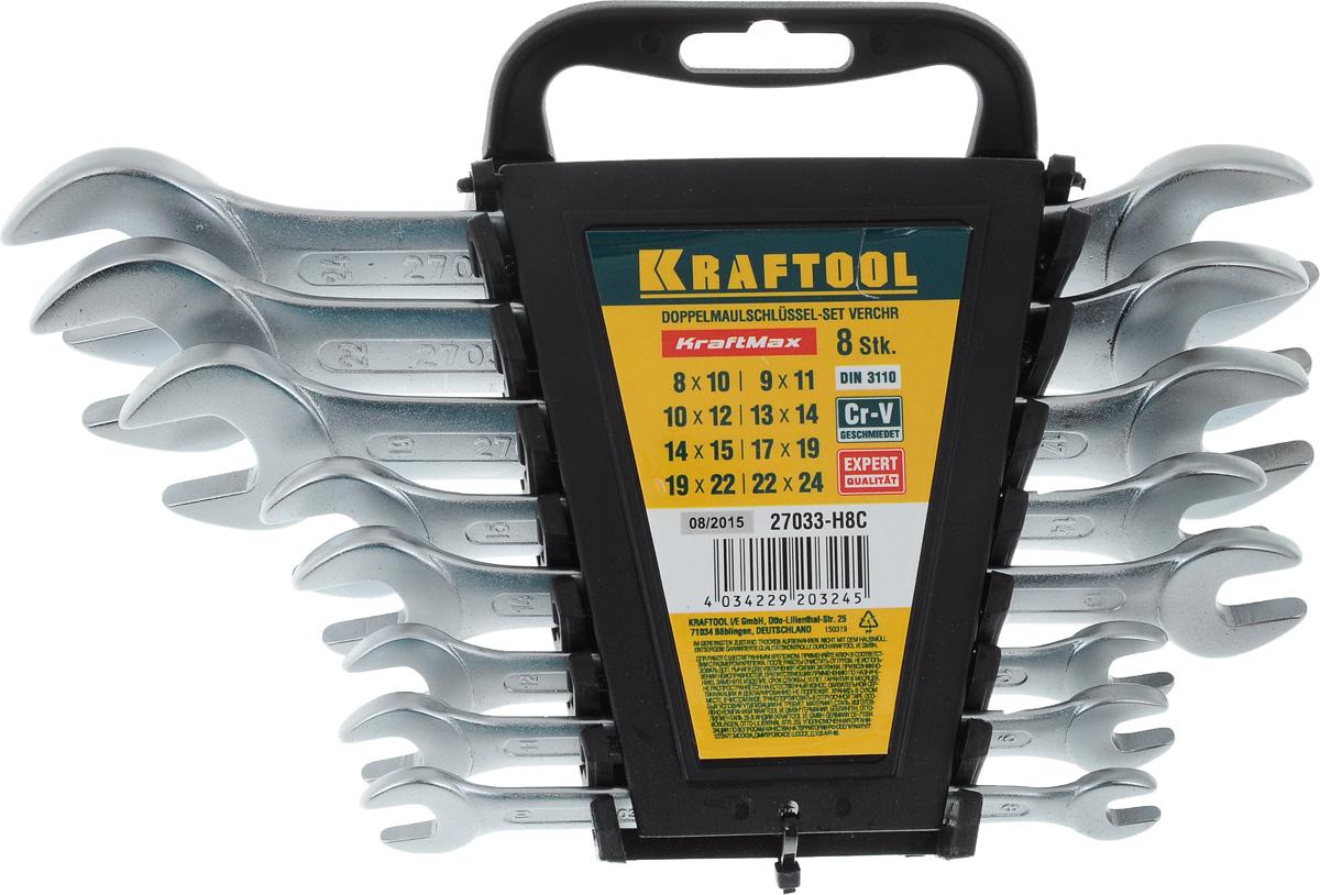 Набор рожковых гаечных ключей Kraftool Expert, 8-24 мм, 8 шт27033-H8CНабор Kraftool Expert включает 8 рожковых гаечных ключей, выполненных из качественной хром-ванадиевой стали. Благодаря правильному подбору материала и параметров технологического процесса ключи выдерживают высокие нагрузки, устойчивы к истиранию рабочих граней. Применяются для работ с шестигранным крепежом. Для хранения набора предусмотрена пластиковая подставка. Размер ключей: 8х10, 9х11, 10х12, 13х14, 14х15, 17х19, 19х22, 22х24.