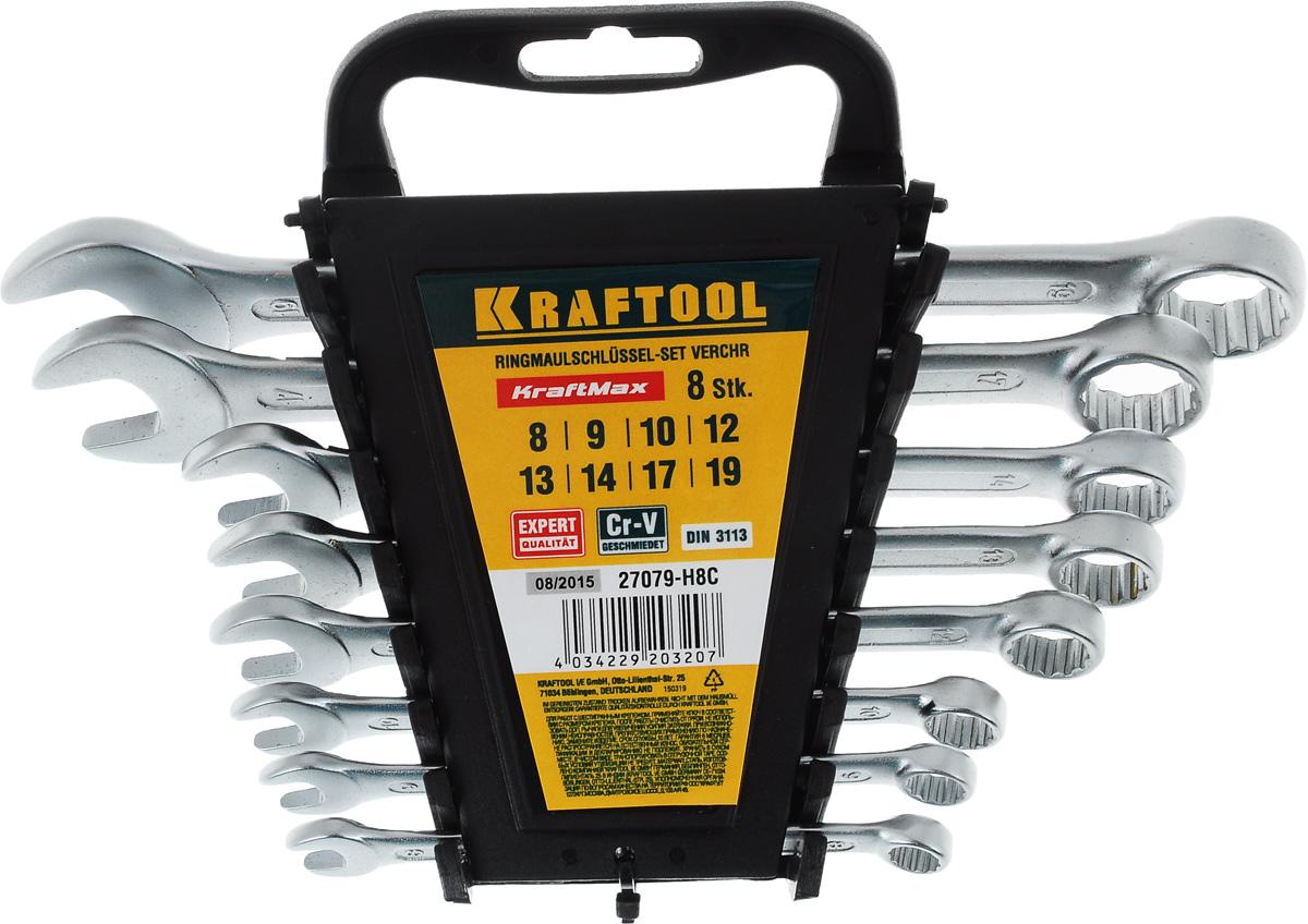 Набор комбинированных гаечных ключей Kraftool Expert, 8-19 мм, 8 шт27079-H8CНабор Kraftool Expert включает 8 комбинированных гаечных ключей, выполненных из качественной стали. Благодаря правильному подбору материала и параметров технологического процесса ключи выдерживают высокие нагрузки, устойчивы к истиранию рабочих граней. Применяются для работ с шестигранным крепежом. Комбинированный гаечный ключ - незаменимый инструмент при сборке и разборке любых металлических конструкций. Он сочетает в себе рожковый и накидной гаечные ключи. Первый нужен для работы в труднодоступных местах, второй более эффективен при отворачивании тугого крепежа. Для хранения набора предусмотрена пластиковая подставка.
