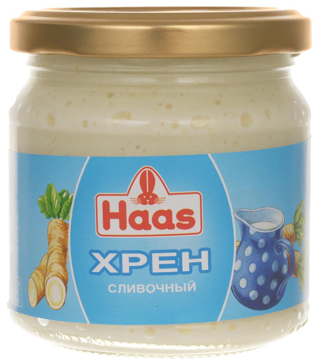 Haas хрен сливочный, 190 г52136Нежный натуральный хрен Haas с добавлением сливок (25%) - для истинных гурманов. Обладает тонким, изысканным вкусом, прекрасно подходит к рыбе, мясным стейкам и блюдам из дичи.