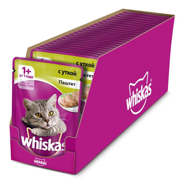 Консервы Whiskas для кошек от 1 года, паштет с уткой, 85 г х 24 шт41400Консервы Whiskas - полнорационный сбалансированный корм, который идеально подойдет вашему любимцу. Нежный паштет приготовлен с учетом потребностей кошек. Специально сбалансированный рацион содержит все необходимые питательные вещества, витамины и минералы. Консервы не содержат сои, консервантов, ароматизаторов, искусственных красителей и усилителей вкуса. Состав: мясо и субпродукты (в том числе утка минимум 4%), таурин, витамины, минеральные вещества. Пищевая ценность (100 г): белки - 8 г, жиры - 4 г, зола - 1,8 г, клетчатка - 0,3 г, витамин А не менее 150 МЕ, витамин Е не менее 1 мг, влага - 85 г. В упаковке 24 пауча по 85 г. Товар сертифицирован.
