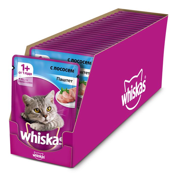 Консервы Whiskas для кошек от 1 года, паштет с лососем, 85 г х 24 шт41401Консервы для взрослых кошек Whiskas - полнорационный сбалансированный корм, который идеально подойдет вашему любимцу. Нежный паштет приготовлен с учетом потребностей кошек. Специально сбалансированный рацион содержит все необходимые питательные вещества, витамины и минералы. Консервы не содержат сои, консервантов, ароматизаторов, искусственных красителей и усилителей вкуса. В рацион домашнего любимца нужно обязательно включать консервированный корм, ведь его главные достоинства - высокая калорийность и питательная ценность. Консервы лучше усваиваются, чем сухие корма. Также важно, чтобы животные, имеющие в рационе консервированный корм, получали больше влаги. Состав: мясо и субпродукты (в том числе лосось минимум 4%), таурин, витамины, минеральные вещества. Пищевая ценность (100 г): белки - 8 г, жиры - 4 г, зола - 1,8 г, клетчатка - 0,3 г, витамин А не менее 150 МЕ, витамин Е не менее 1 мг, влага - 85 г. ...