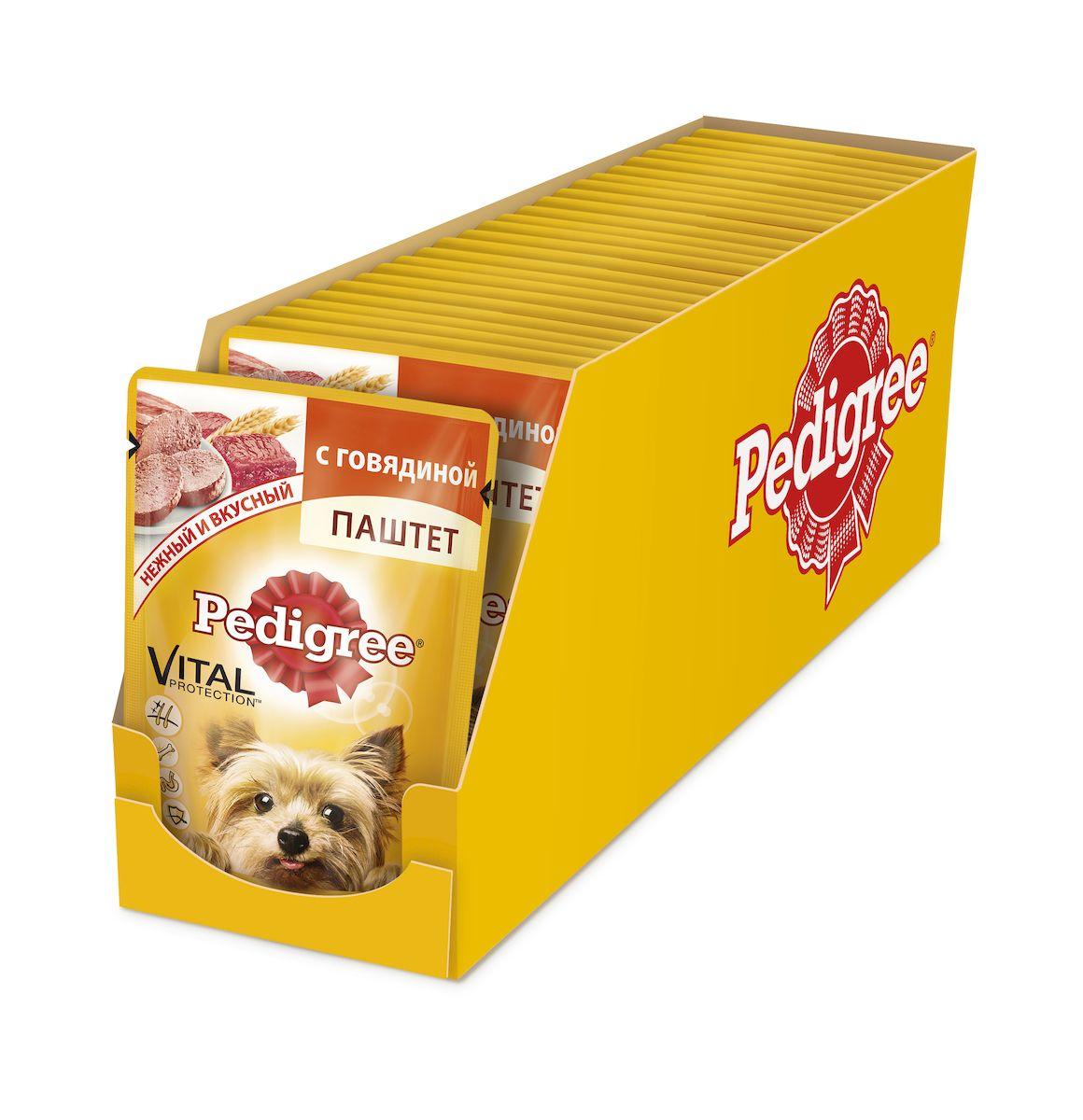 Консервы Pedigree для собак мелких пород от 1 года, паштет с говядиной, 80 г х 24 шт41398Консервы Pedigree – это не просто вкусный паштет с говядиной, но и полезный, оптимально сбалансированный рацион. Он обеспечивает организм собаки витаминами и микроэлементами, необходимыми ей для здоровья и активной жизни. Не содержит ароматизаторов, усилителей вкуса, сои и консервантов, искусственных красителей. Ключевые преимущества: Поддержка иммунной системы: Витамин E и цинк поддерживают иммунную систему. Здоровье костей: Содержит кальций для поддержания здоровья костей. Здоровье кожи и шерсти: Линолевая кислота и цинк необходимы для здоровья кожи и шерсти. Отличное пищеварение: Высокоусвояемые ингредиенты и клетчатка для оптимального пищеварения. Состав: мясо и субпродукты (в том числе говядина минимум 4%), клетчатка, минеральные вещества, растительное масло, витамины. Пищевая ценность (100 г): белки – 7,0 г; жиры – 3,5 г; зола – 1,0 г; клетчатка – 0,6 г; влага – 85 г; кальций – не менее 0,1 г; цинк...