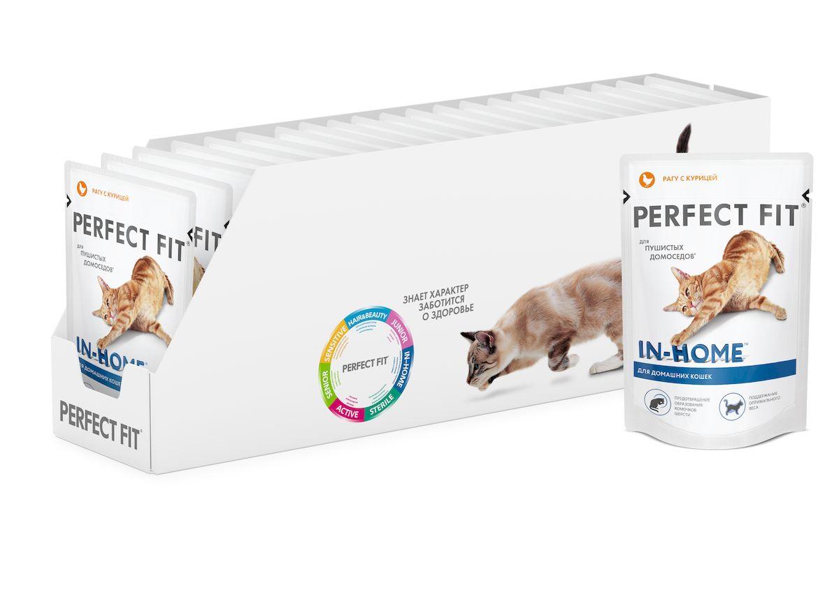 Консервы Perfect Fit In-Home для домашних кошек, рагу с курицей, 85 г х 24 шт41408Корм консервированный Perfect Fit In-Home - высококачественное питание, специально приготовленное, чтобы поддержать жизненный тонус и хорошее самочувствие домашних кошек. Домашние кошки любят целыми днями лежать на диване, они наблюдают, думают, анализируют. Такая деятельность требует много сил и особенного рациона, в котором предусмотрены индивидуальные особенности кошки, редко выходящей на улицу. Особенности корма: - содержит натуральную клетчатку, помогающую контролировать образование комочков и способствующую выведению шерсти из организма кошки, - специальная рецептура позволяет снизить потребление калорий в каждом кормлении, - не содержит сои, консервантов, ароматизаторов, искусственных красителей, усилителей вкуса. Состав: мясо и субпродукты (в том числе курица минимум 14%), клетчатка, таурин, витамины, минеральные вещества. Пищевая ценность в 100 г: белки - 7,5 г, жиры - 3 г, зола - 2,5 г, клетчатка...