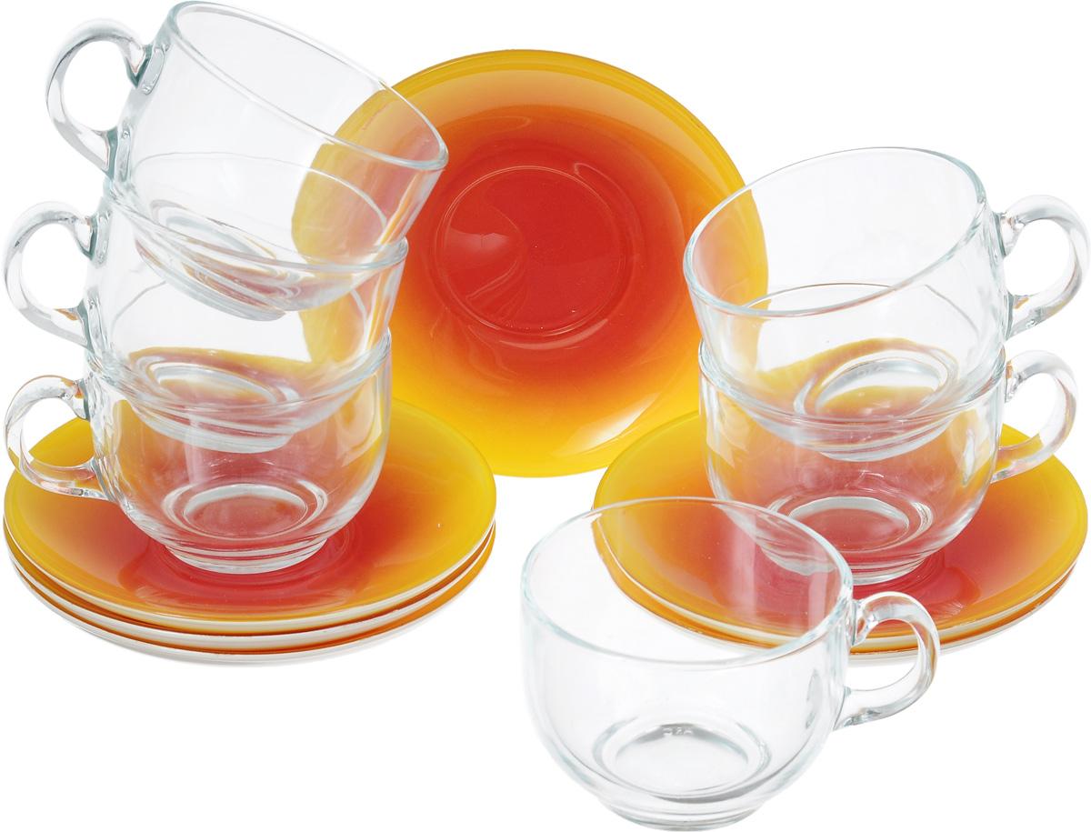 Набор чайный Luminarc Fizz Lemon, 12 предметовG9971Чайный набор Luminarc Fizz Lemon состоит из шести чашек и шести блюдец. Предметы набора изготовлены из прочного стекла. Изящный чайный набор великолепно украсит стол к чаепитию и порадует вас и ваших гостей ярким дизайном и качеством исполнения. Можно мыть в посудомоечной машине. Диаметр чашки (по верхнему краю): 8,5 см. Высота чашки: 6,5 см. Объем чашки: 220 мл. Диаметр блюдца: 13,5 см. Высота блюдца: 2 см.