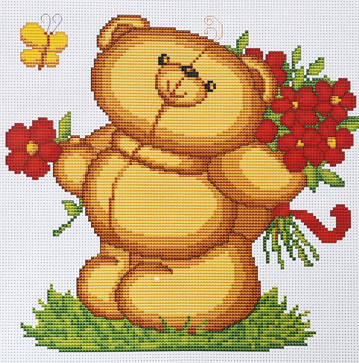 Набор для вышивания крестом Luca-S Медвежонок с цветами, 19,5 х 18 смB171Набор для вышивания крестом Luca-S Медвежонок с цветами поможет создать красивую вышитую картину. Рисунок-вышивка, выполненный на канве, выглядит стильно и модно. Вышивание отвлечет вас от повседневных забот и превратится в увлекательное занятие! Работа, сделанная своими руками, не только украсит интерьер дома, придав ему уют и оригинальность, но и будет отличным подарком для друзей и близких! Набор содержит все необходимые материалы для вышивки на канве в технике счетный крест. В набор входит: - канва Aida Zweigart №16 (белого цвета), - мулине Anchor - 100% мерсеризованный хлопок (15 цветов), - черно-белая символьная схема, - инструкция на русском языке, - игла. Размер готовой работы: 19,5 х 18 см. Размер канвы: 28 х 30 см.