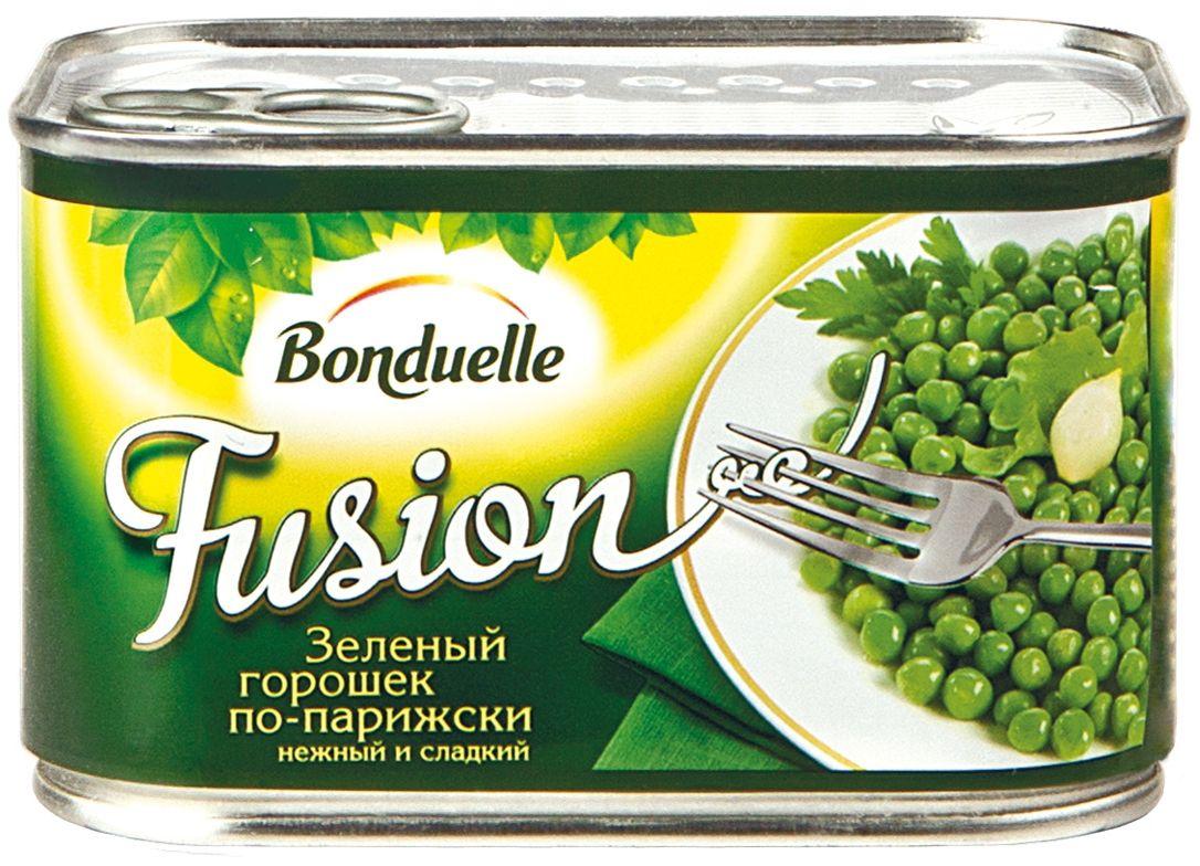 Bonduelle Фьюжн горошек зеленый по-парижски, 400 г4748Горошек по –парижски с луком , Bоnduelle Fusion. Именно такой горошек предпочитают подавать на стол в Париже: молодой, мелкий, сладкий и нежный. И вкусу французов можно полностью доверять: салаты и горячие блюда с таким ингредиентом получаются идеальными, ведь горошины сохраняют свой вкус и аппетитный вид, несмотря на тепловую обработку.
