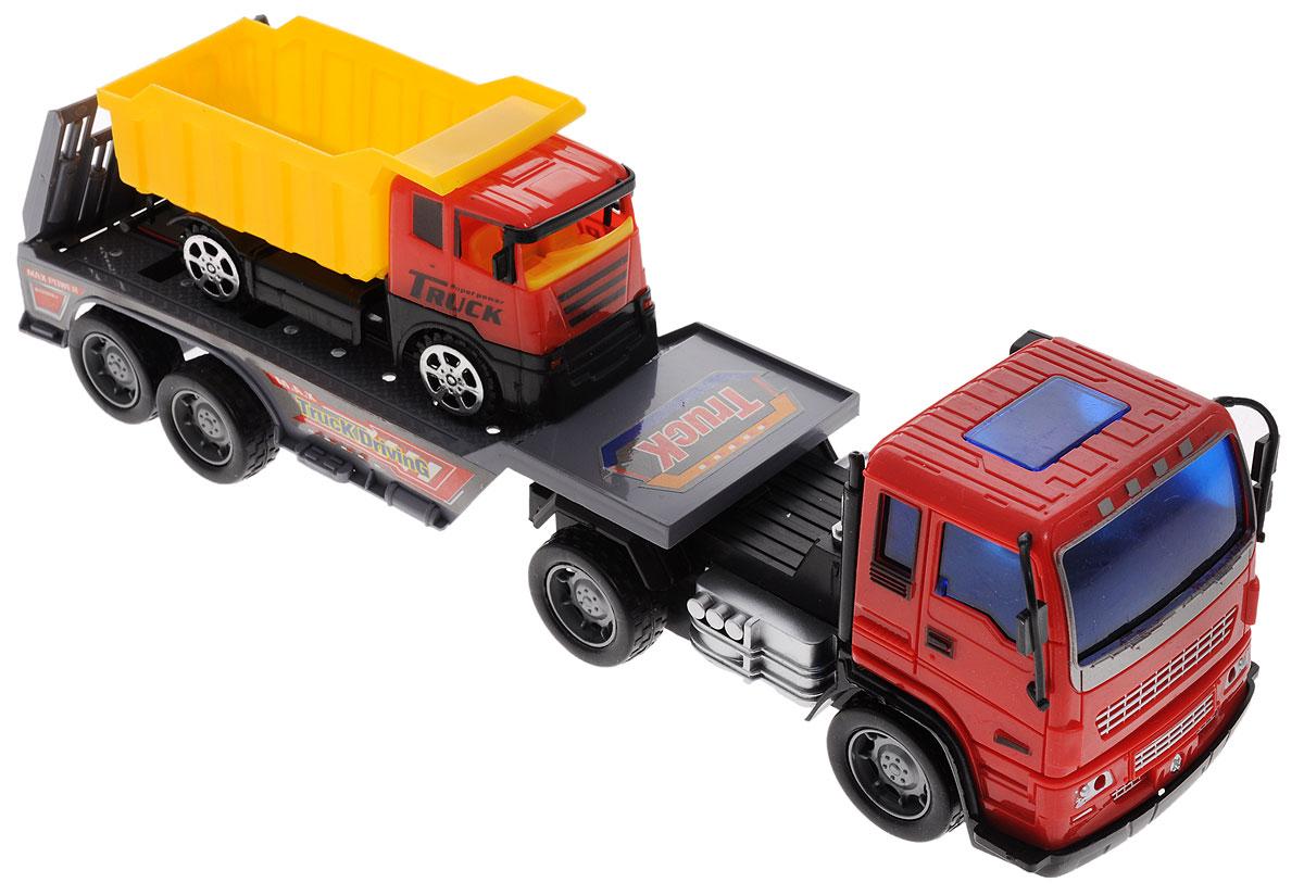 Junfa Toys Автовоз инерционный с самосвалом8268-45AИнерционный автовоз с самосвалом Junfa Toys станет самой любимой игрушкой вашего ребенка. Достаточно большой и вместительный автовоз оборудован просторной площадкой для перевозки автомашин. Он способен уместить даже самосвал, который входит в набор. Автовоз оснащен инерционным механизмом, что позволяет приводить машину в движение без использования батареек. Нужно лишь потянуть машину немного назад, и она по инерции покатится вперед. У самосвала колеса имеют свободный ход. Изделия выполнены из безопасного для ребенка пластика. Порадуйте своего ребенка таким увлекательным подарком!
