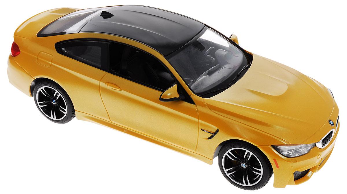 Rastar Радиоуправляемая модель BMW M4 Coupe70900пцРадиоуправляемая модель Rastar BMW M4 Coupe обязательно привлечет внимание взрослого и ребенка и понравится любому, кто увлекается автомобилями. Корпус автомобиля выполнен из металла с использованием пластиковых элементов, колеса - из резины. Маневренная и реалистичная уменьшенная копия выполнена в точной детализации с настоящим автомобилем в масштабе 1:14. Управление машинкой происходит с помощью пульта. Машина двигается вперед и назад, поворачивает направо, налево. Имеются световые эффекты. Колеса игрушки обеспечивают плавный ход, машинка не портит напольное покрытие. Радиоуправляемые игрушки способствуют развитию координации движений, моторики и ловкости. Ваш ребенок часами будет играть с моделью, придумывая различные истории и устраивая соревнования. Порадуйте его таким замечательным подарком! Модель автомобиля работает от 5 батареек напряжением 1,5V типа АА (не входят в комплект). Пульт управления работает от батарейки 9V типа...