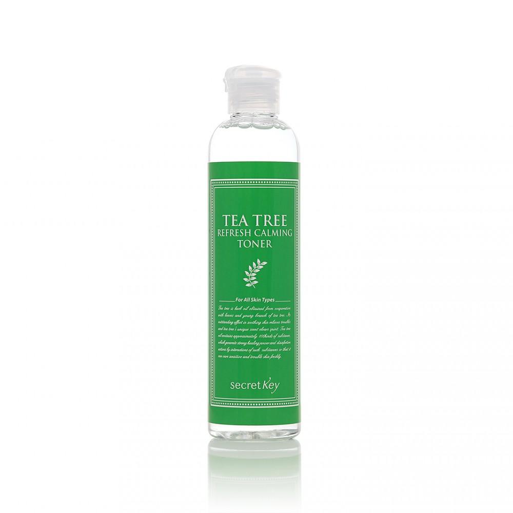 Secret Key Тоник для лица чайное дерево Tea Tree Refresh Calming Toner, 248 млS153Идеально для ухода за проблемной, склонной к воспалениям кожей. Является мощным противомикробным средством, эффективным на любой стадии воспаления. Осуществляет глубокую эффективную очистку кожи, а также нормализуя секрецию кожного сала, очищая и сужая поры. Устраняет прыщи и воспаление, тонизирует и защищает кожу лица.
