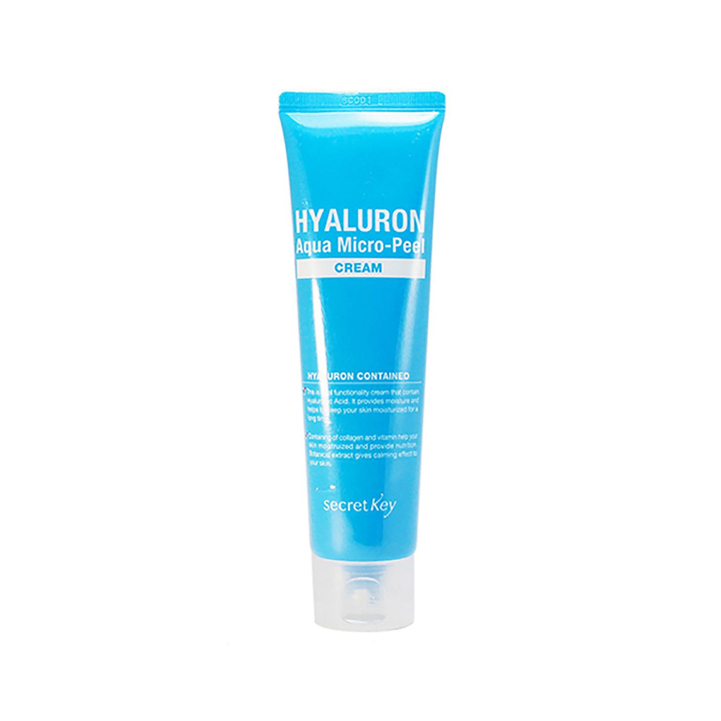 Secret Key Крем гиалуроновый Hyaluron Aqua Micro-Peel Cream, 70 гS582Гиалуроновый крем обеспечивает продолжительное увлажнение, улучшает микроциркуляцию, делает кожу гладкой и упругой. Ниацинамид и аденозин, входящие в состав крема, отбеливают кожу и помогают бороться с морщинами. Крем обладает выраженными увлажняющими свойствами и создан специально для ежедневного ухода за вашей кожей. Объем: 70 гр
