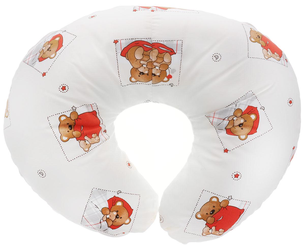 Plantex Подушка для кормящих и беременных мам Comfy Small Мишка цвет белый красный