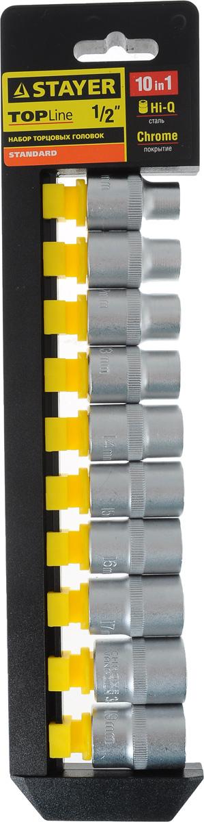 Набор торцевых головок Stayer Standard, 10-19 мм, 10 шт27755-H10Торцевые головки Stayer Standard изготовлены из высококачественной инструментальной стали, закалены, сочетают в себе оптимальный баланс прочности и твердости. Они меют шестигранный зев и посадочное место для присоединительного квадрата 1/2. Головки предназначены для работы с резьбовыми соединениями. Размер головок: 10 мм, 11 мм, 12 мм, 13 мм, 14 мм, 15 мм, 16 мм, 17 мм, 18 мм, 19 мм.