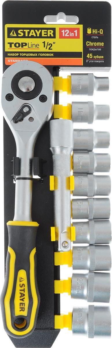 Набор инструментов Stayer Standard, 12 предметов27750-H12Набор слесарно-монтажного инструмента Stayer Standard предназначен для работы с резьбовыми соединениями. Торцевые головки имеют шестигранный зев и посадочное место для присоединительного квадрата 1/2. Трещотка с храповым механизмом устраняет необходимость каждый раз устанавливать ключ на крепежный элемент. Изделия выполнены из высококачественной стали. Трещотка оснащена удобной обрезиненной рукояткой. Состав набора: Торцевые головки: 10 мм, 11 мм, 12 мм, 13 мм, 14 мм, 15 мм, 17 мм, 19 мм, 22 мм, 24 мм. Трещотка с быстрым сбросом: 45 зубцов, длина 25 см. Удлинитель: 12,5 см.