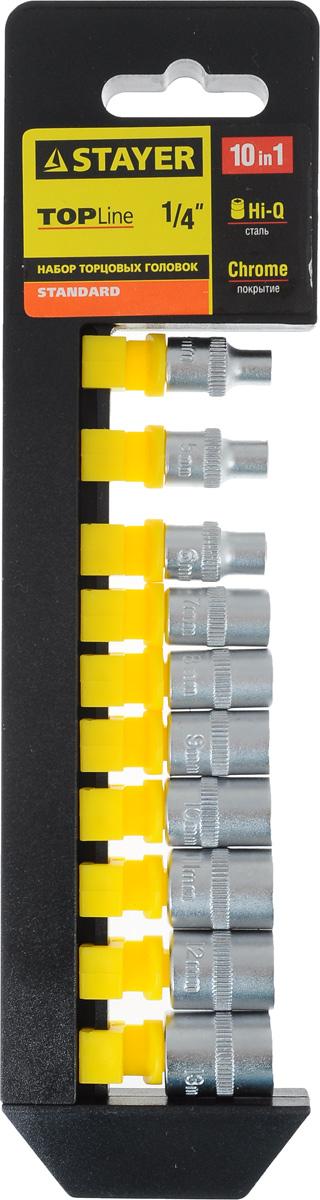 Набор торцевых головок Stayer Standard, 4-13 мм, 10 шт27758-H10Торцевые головки Stayer Standard изготовлены из высококачественной инструментальной стали, закалены, сочетают в себе оптимальный баланс прочности и твердости. Они имеют шестигранный зев и посадочное место для присоединительного квадрата 1/4. Головки предназначены для работы с резьбовыми соединениями. Размер головок: 4 мм, 5 мм, 6 мм, 7 мм, 8 мм, 9 мм, 10 мм, 11 мм, 12 мм, 13 мм.
