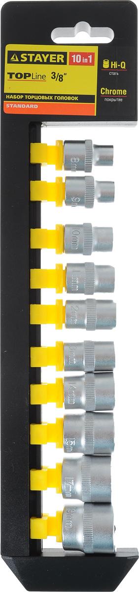 Набор торцевых головок Stayer Standard, 8-19 мм, 10 шт27757-H10Торцевые головки Stayer Standard изготовлены из высококачественной инструментальной стали, закалены, сочетают в себе оптимальный баланс прочности и твердости. Они меют шестигранный зев и посадочное место для присоединительного квадрата 1/2. Головки предназначены для работы с резьбовыми соединениями. Размер головок: 8 мм, 9 мм, 10 мм, 11 мм, 12 мм, 13 мм, 14 мм, 15 мм, 17 мм, 19 мм.