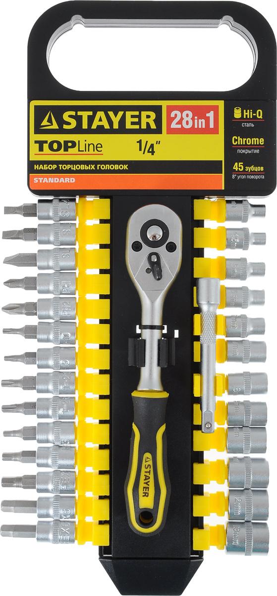 Набор инструментов Stayer Standard, 28 предметов27754-H28Набор слесарно-монтажного инструмента Stayer Standard предназначен для работы с резьбовыми соединениями. Торцевые головки имеют шестигранный зев и посадочное место для присоединительного квадрата 1/4. Трещотка с храповым механизмом устраняет необходимость каждый раз устанавливать ключ на крепежный элемент. Изделия выполнены из высококачественной стали. Трещотка оснащена удобной обрезиненной рукояткой. Состав набора: Торцевые головки: 4 мм, 4,5 мм, 5 мм, 5,5 мм, 6 мм, 7 мм, 8 мм, 9 мм, 10 мм, 11 мм, 12 мм, 13 мм. Биты-головки: SL4, SL5, SL7, PH1, PH2, T10, T15, T20, T25, T30, H3, H4, H5, H6. Трещотка с быстрым сбросом: 45 зубцов, длина 16 см. Удлинитель: 7,5 см.