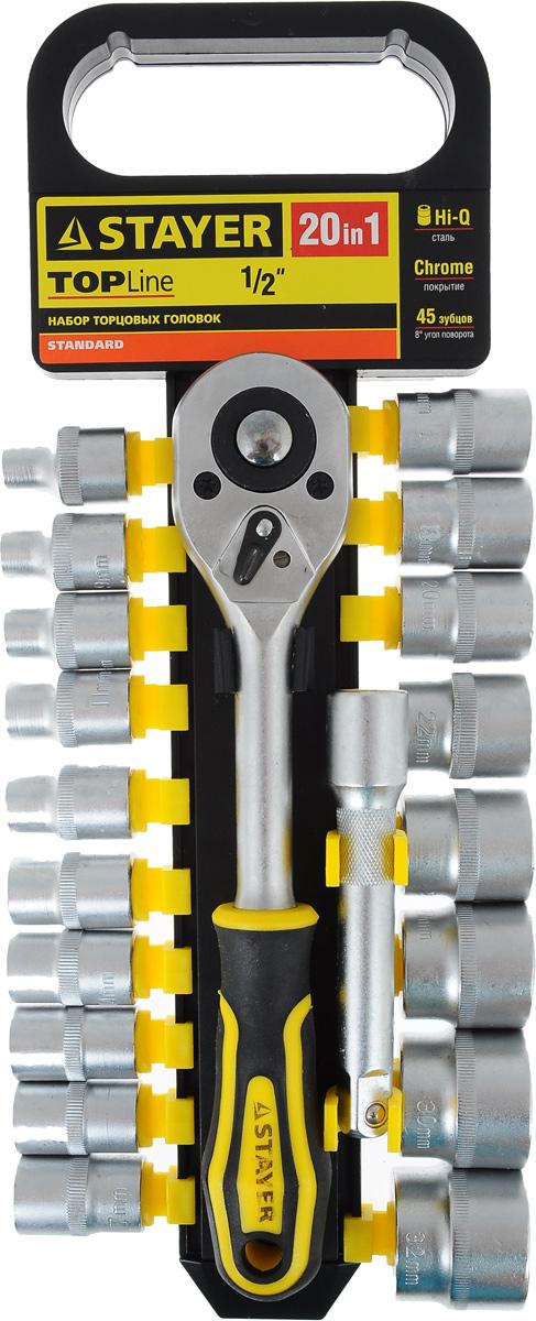Набор инструментов Stayer Standard, 20 предметов27750-H20Набор слесарно-монтажного инструмента Stayer Standard предназначен для работы с резьбовыми соединениями. Торцевые головки имеют шестигранный зев и посадочное место для присоединительного квадрата 1/2. Трещотка с храповым механизмом устраняет необходимость каждый раз устанавливать ключ на крепежный элемент. Изделия выполнены из высококачественной стали. Трещотка оснащена удобной обрезиненной рукояткой. Состав набора: Торцевые головки: 8 мм, 9 мм, 10 мм, 11 мм, 12 мм, 13 мм, 14 мм, 15 мм, 16 мм, 17 мм, 18 мм, 19 мм, 20 мм, 22 мм, 24 мм, 27 мм, 30 мм, 32 мм. Трещотка с быстрым сбросом: 45 зубцов, длина 25 см. Удлинитель: 12,5 см.