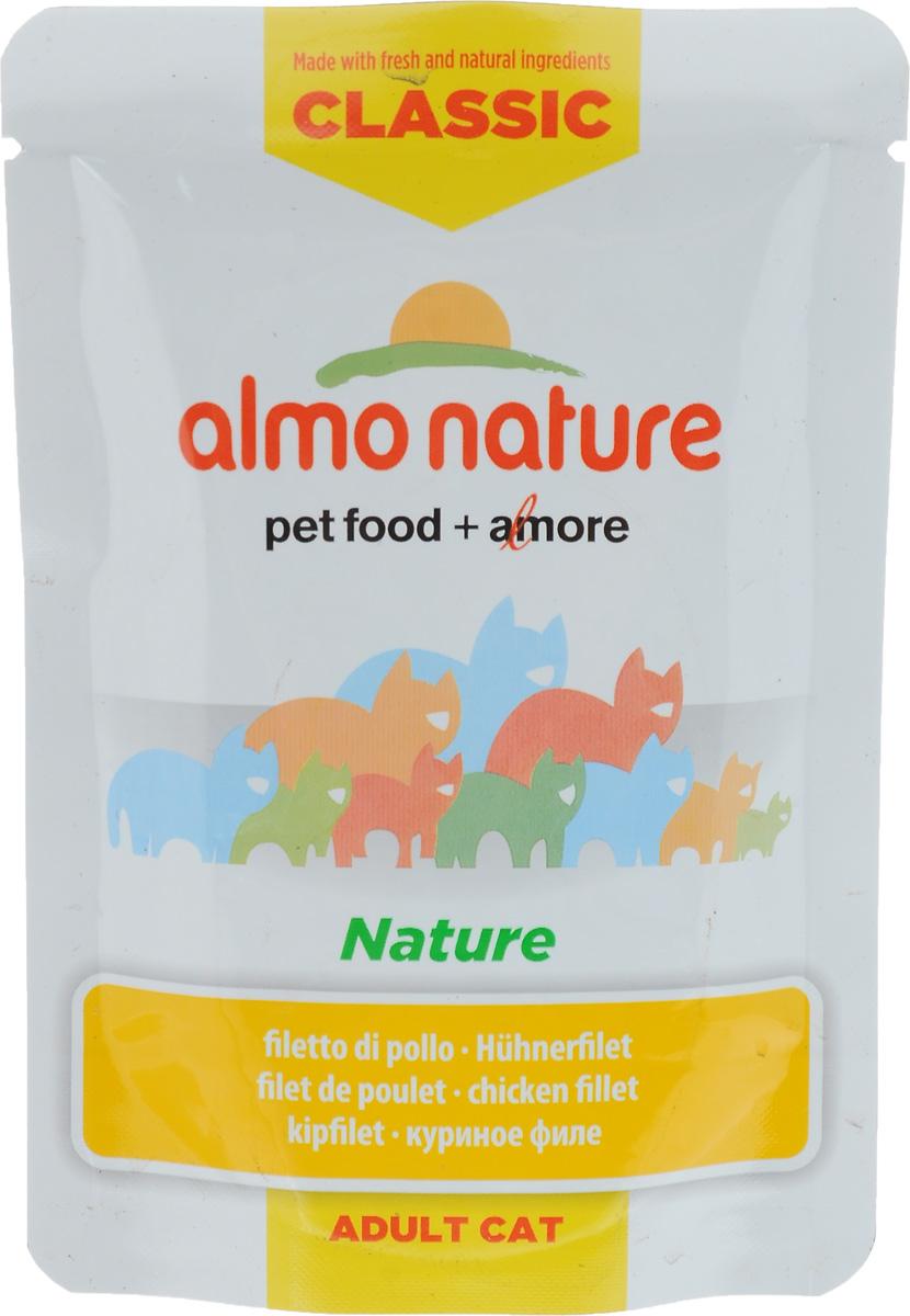 Консервы для кошек Almo Nature Classic Adult, куриное филе, 55 г20053Консервы Almo Nature Classic Adult - это корм, предназначенный для кошек. Угощение изготавливается из свежих и натуральных ингредиентов, которые были упакованы сырыми, затем стерилизованы, чтобы сохранить питательные вещества и вкус. Ваш питомец будет в полном восторге. Не содержит сои, консервантов, ароматизаторов, искусственных красителей, усилителей вкуса. Состав: куриное филе 45%, куриный бульон 24%, рис 3%. Гарантированный анализ: белки 15%, клетчатка 0,1%, жиры 0,1%, зола 1,5%, влажность 83%. Калорийность: 533 ккал/кг. Товар сертифицирован.
