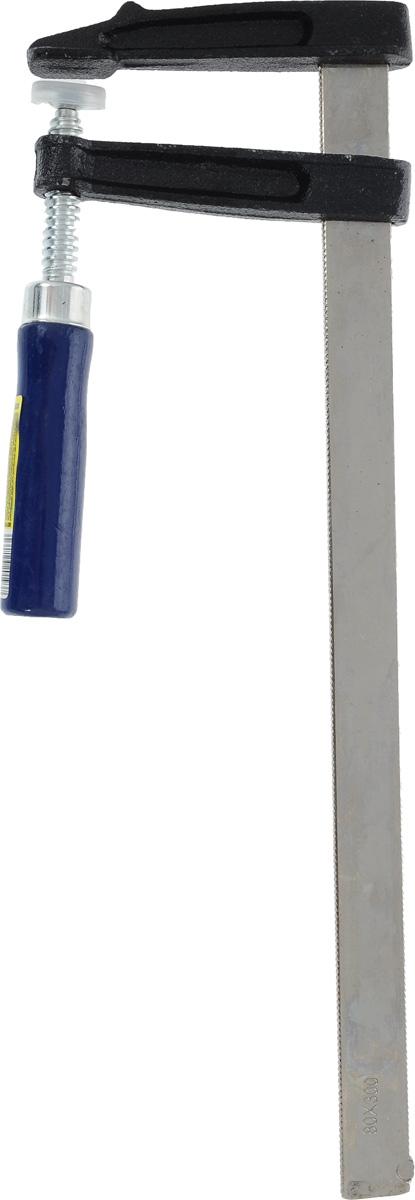 Струбцина Dexx, тип F, 8 х 30 см3205-80-300F-образная струбцина Dexx используется для фиксации и сжатия всевозможных заготовок и деталей во время склеивания, закрепления на столярном верстаке или станке. Эргономичная деревянная ручка позволяет потребителю затягивать заготовку с нужным усилием. Нержавеющая сталь предупреждает коррозию и улучшает внешний вид. Максимальный размер зажима: 8 х 30 см. Общая длина инструмента: 37 см.