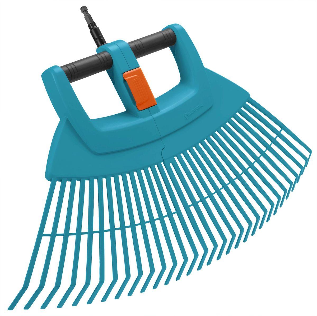 Gardena Грабли пластиковые веерные XXL складные03107-20.000.00Для быстрого сбора листвы, скошенной травы и другого садового мусора с больших площадей, рабочая ширина 77см, рекомендуемая длина ручки 130см 150см(3723-20 или 3725-20), пластик с интегрированной алюминиевой трубкой повышенной прочности, складываются пополам для удобной уборки собранного мусора и компактного хранения, большая фиксирующая накладка для удобства складывания.