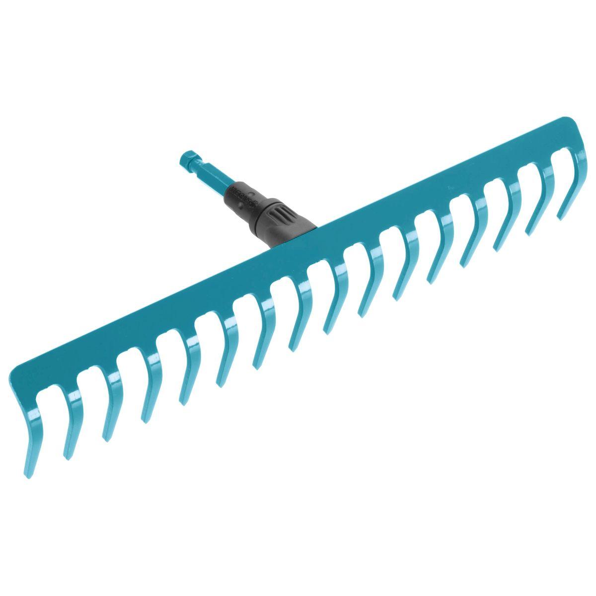 Грабли Gardena, без ручки, 41 см03179-20.000.00Грабли Gardena выполнены из высококачественной стали с покрытием из дюропласта, которое обеспечивает оптимальную защиту инструмента от коррозии. Грабли представляют собой практичный многофункциональный инструмент, который идеально подходит для очистки, обработки и выравнивания почвы. Грабли могут использоваться с любой ручкой, однако рекомендуется использовать ручку длиной 150 см, в зависимости от роста пользователя. Рабочая ширина: 41 см.