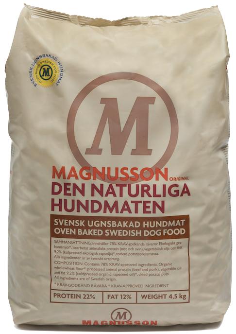 Корм сухой Magnusson Original Naturliga, для сильных аллергиков и чувствительных к питанию собак, 4,5 кг7350033851425Cамый чистый и простой корм Магнуссон – всего 4 ингредиента в составе. Идеально подходит для собак склонных к аллергии, белых собак и для тех владельцев, которые не могут определиться каким кормом начать кормить своего питомца. В Натурлигу не добавляется свежая морковь и свежие яйца, как в линейке Мит&Бисквит, отсутствуют пивные дрожжи, как в остальных кормах линейки Ориджинал. Как в любом корме Магнуссон, в Натурлиге нет никаких добавок и консервантов. Если Вы не можете выбрать с какого корма Магнуссон начать кормить – начните с Натурлиги! Корм можно давать как в сухом, так и размоченном виде. Не стоит заливать корм бульоном или молоком, лучше всего использовать воду. Определите количество корма, которое Вы хотите дать Вашей собаке. Добавьте в миску теплую воду так, чтобы она покрывала корм. Перемешайте и оставьте на 10 минут. Не забывайте, что Ваша собака всегда должна иметь свободный доступ к чистой питьевой воде. Количество корма варьируется в зависимости от породы,...