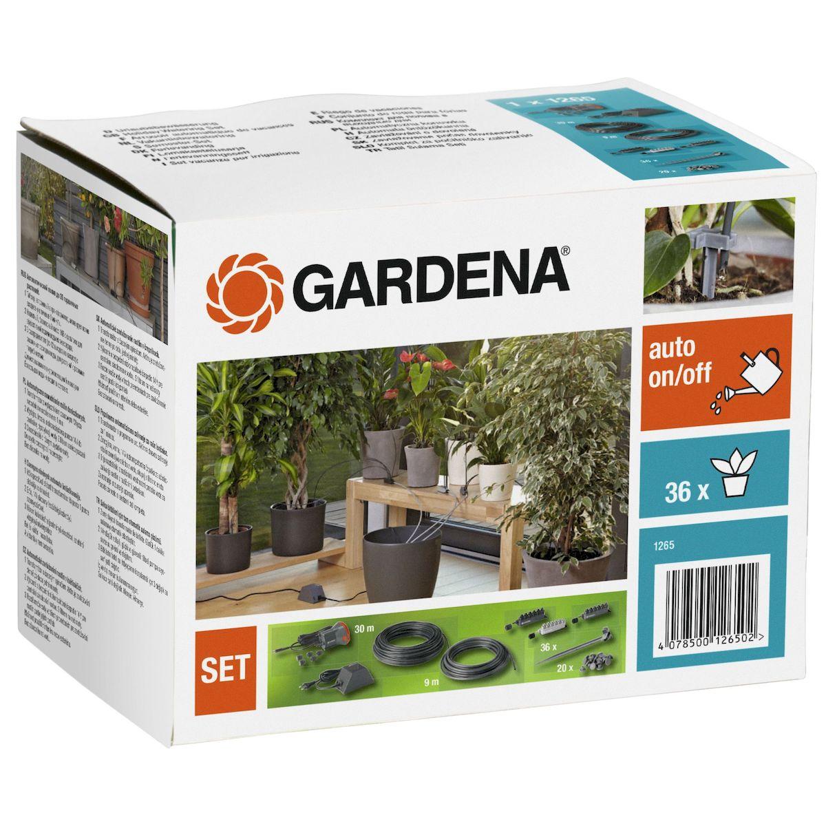 Gardena Комплект для полива в выходные дни01265-20.000.00Комплект для автоматического капельного полива до 36-ти горшечных растений. Идеально заменит Вас во время отпуска. 3 распределителя с различной подачей воды, по 12 выходов на каждом для точной дозировки полива растений.