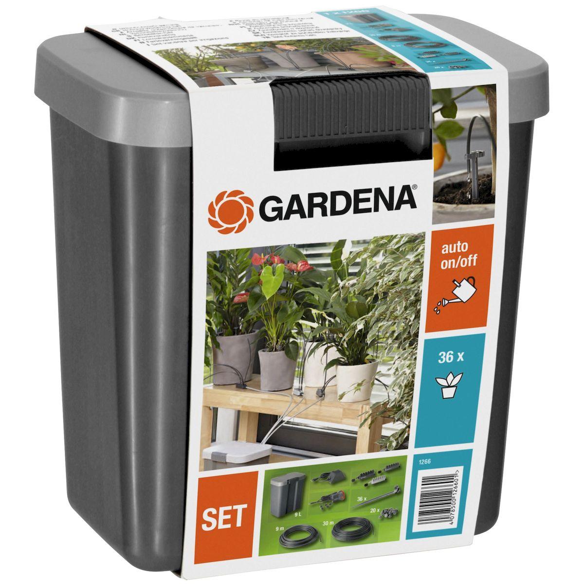 Gardena Комплект для полива в выходные дни с емкостью 9л01266-20.000.00Комплект для автоматического капельного полива до 36-ти горшечных растений. Идеально заменит Вас во время отпуска. 3 распределителя с различной подачей воды, по 12 выходов на каждом для точной дозировки полива растений.