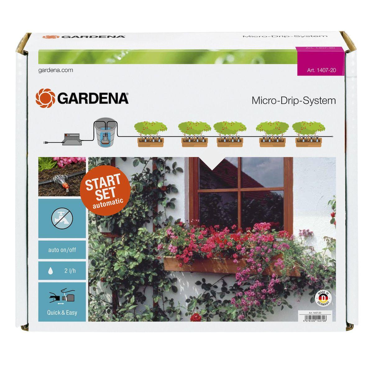 Комплект микрокапельного полива горшечных растений Gardena01407-20.000.00Система микрокапельного полива Gardena предназначена для автоматического полива горшечных растений протяженностью до 6 м. Наличие встроенного таймера с 13 заданными программами позволяет легко поливать горшечные растения в ваше отсутствие. Для того чтобы исключить зависимость от водопровода, полив растений может осуществляться напрямую, например, из бака с дождевой водой. Для полива горшечных растений на протяжении более 6 м в систему можно включить дополнительные элементы. Для рационального полива к системе полива горшечных растений можно подключить датчик дождя Gardena и датчик влажности почвы Gardena. В комплекте: - трансформатор с вращающимся регулятором для выбора программы полива; - насос низкого давления 14 В; - фильтр; - внутренняя капельница (2 л/ч), 25 шт; - концевая заглушка; - игла для прочистки; - подающий шланг 4,6 мм (3/16 дюйма), 10 м; - колышки для крепления шланга, 15 шт.