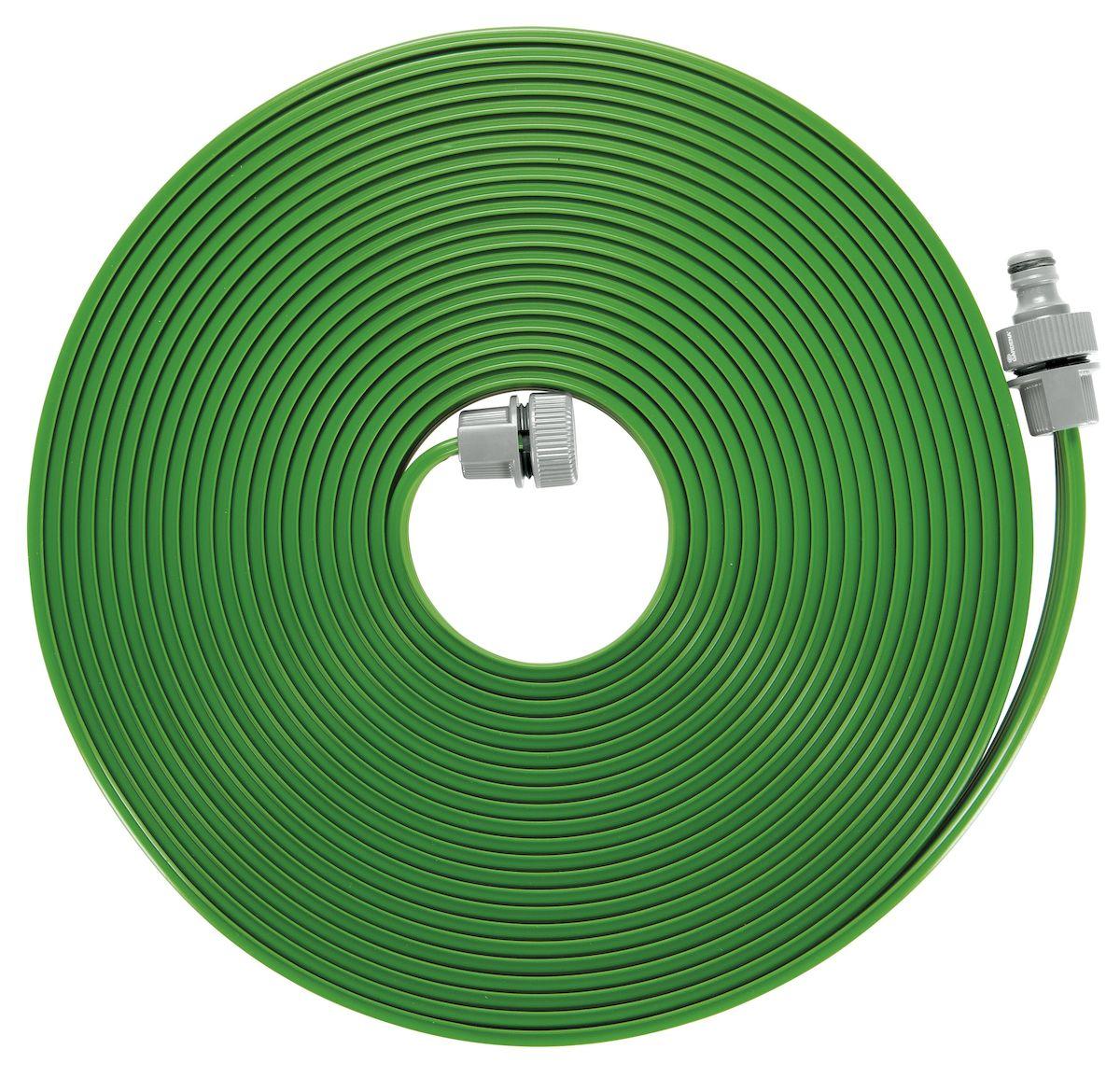 Шланг-дождеватель Gardena, цвет: зеленый, 15 м01998-20.000.00Шланг-дождеватель Gardena оптимально подходит для бережного орошения грядок, бордюров и узких площадок. Полив мелкодисперсным орошением позволяет бережно поливать капризные растения, не повреждая их. В комплект поставки шланга входят необходимые соединительные элементы, поэтому всё, что вам нужно - это подключить шланг к источнику воды. Шланг-дождеватель предусматривает возможность наращивания путем простого подсоединения до 22,5 м. Шланг может быть укорочен по желанию пользователя. Для этого нужно просто обрезать шланг, отмерив нужную длину, и установить соединительные элементы. Шланг-дождеватель Gardena предназначен для легкого полива небольших участков. Площадь полива - 15 м2. Длина шланга - 15 м.