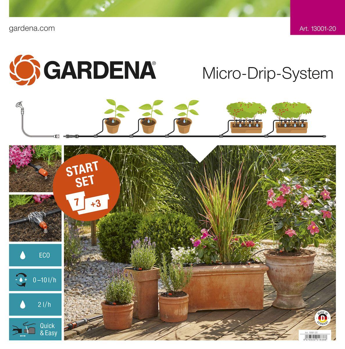 Комплект микрокапельного полива Gardena, базовый13001-20.000.00Базовый комплект Gardena предназначен для микрокапельного полива, который может применяться в различных целях. Комплект может использоваться для полива семи горшечных растений и трех цветочных ящиков, но в любом случае это оптимальный набор инструментов для создания базовой системы микрокапельного полива Gardena. Такие элементы позволяют создать систему для удобного полива необходимых растений. Предусмотрена возможность включения в систему дополнительных элементов. В комплекте: - мастер-блок 1000; - шланг магистральный 15 м; - шланг подающий 10 м; - соединитель Т-образный 13 мм (1/2); - соединитель Т-образный 10 шт; - колышки для крепления шлангов 4,6 мм (3/16), 15 шт; - колышки для крепления шлангов 13 мм (1/2), 10 шт; - регулируемая концевая капельница (10 л/час), 7 шт; - внутренняя капельница (2 л/ч), 9 шт; - заглушка 4,6 мм (3/16), 3 шт; - заглушка 13 мм (1/2), 2 шт; - игла для прочистки. ...