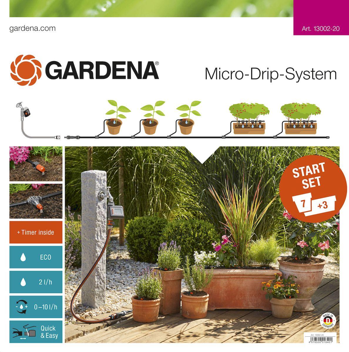 Комплект микрокапельного полива Gardena, базовый с таймером13002-20.000.00Комплект микрокапельного полива Gardena предназначен для микрокапельного полива, который может применяться в различных целях. Комплект может использоваться для 7 горшечных растений и 3 цветочных ящиков. Таймер автоматического полива EasyConrol обеспечивает полностью автоматический полив. Предусмотрена возможность включения в систему дополнительных элементов. В готовый к использованию базовый комплект входят все основные компоненты системы микрокапельного полива Micro-Drip-System, необходимые для простого полива различных растений. Комплект можно дополнять другими компонентами системы Micro-Drip-System. В комплекте: - таймер автоматического полива EasyControl; - мастер-блок 1000; - шланг магистральный 15 м; - шланг подающий 10 м; - соединитель Т-образный 13 мм (1/2); - соединитель Т-образный 10 шт; - колышки для крепления шлангов 4,6 мм (3/16), 15 шт; - колышки для крепления шлангов 13 мм (1/2), 10 шт; -...