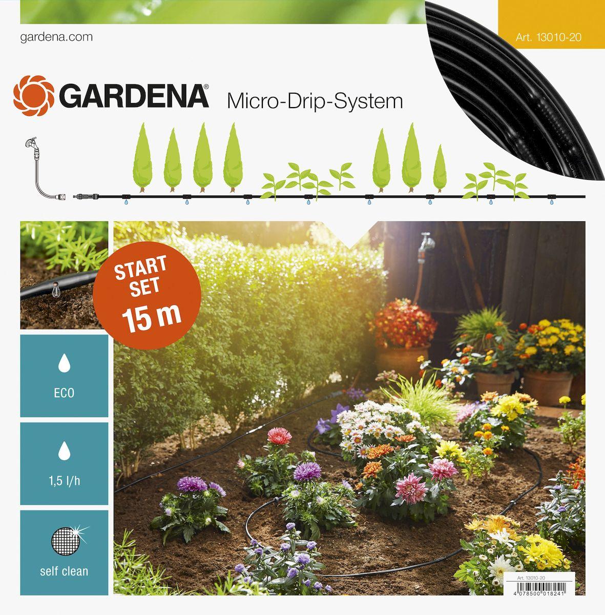 Комплект базовый для наземной прокладки Gardena, 4,6 мм (3/16) х 15 м13010-20.000.00Комплект базовый для наземной прокладки Gardena предназначен для полива небольших участков с цветами, овощами и фруктами, а также для полива посаженных в ряд растений. Расстояние между отверстиями составляет 30 см. Каждая капельница обеспечивает бережный полив с расходом воды 1,6 л/ч. Благодаря использованию инновационной лабиринтной технологии, капельницы являются самоочищающимися. Благодаря небольшому диаметру 4,6 мм (3/16) шланг характеризуется особой многофункциональностью и простотой монтажа. При условии установки мастер-блока по центру длина шланга может быть увеличена до 30 м с помощью комплекта для удлинения. В комплекте: - мастер-блок 1000; - подающий шланг 4,6 мм (3/16), 15 м; - колышки для крепления шланга 13 мм (1/2), 15 шт; - заглушка 4,6 мм (3/16).